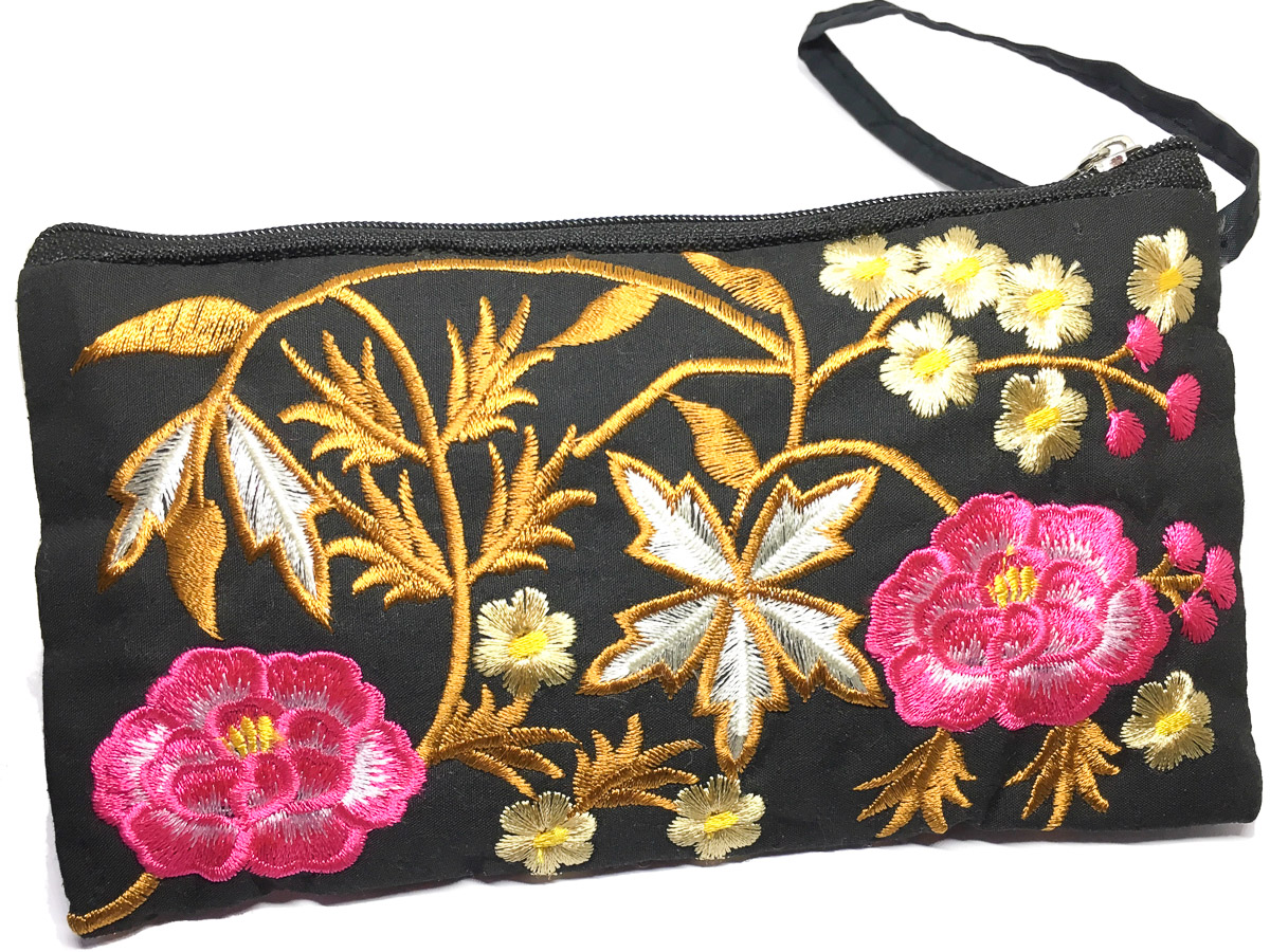 Embroidered Silk Purse Peony Floral Black Multi