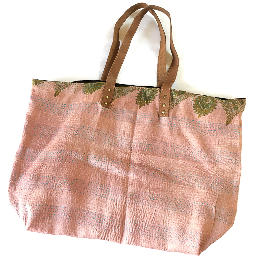 Vintage Silk Day Bag with leather handles - Pale Pink