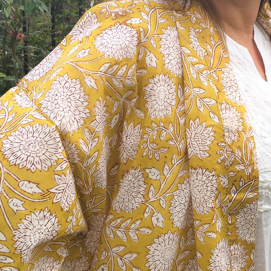 Big Yukata Kimono - Full Bloom Golden Saffron