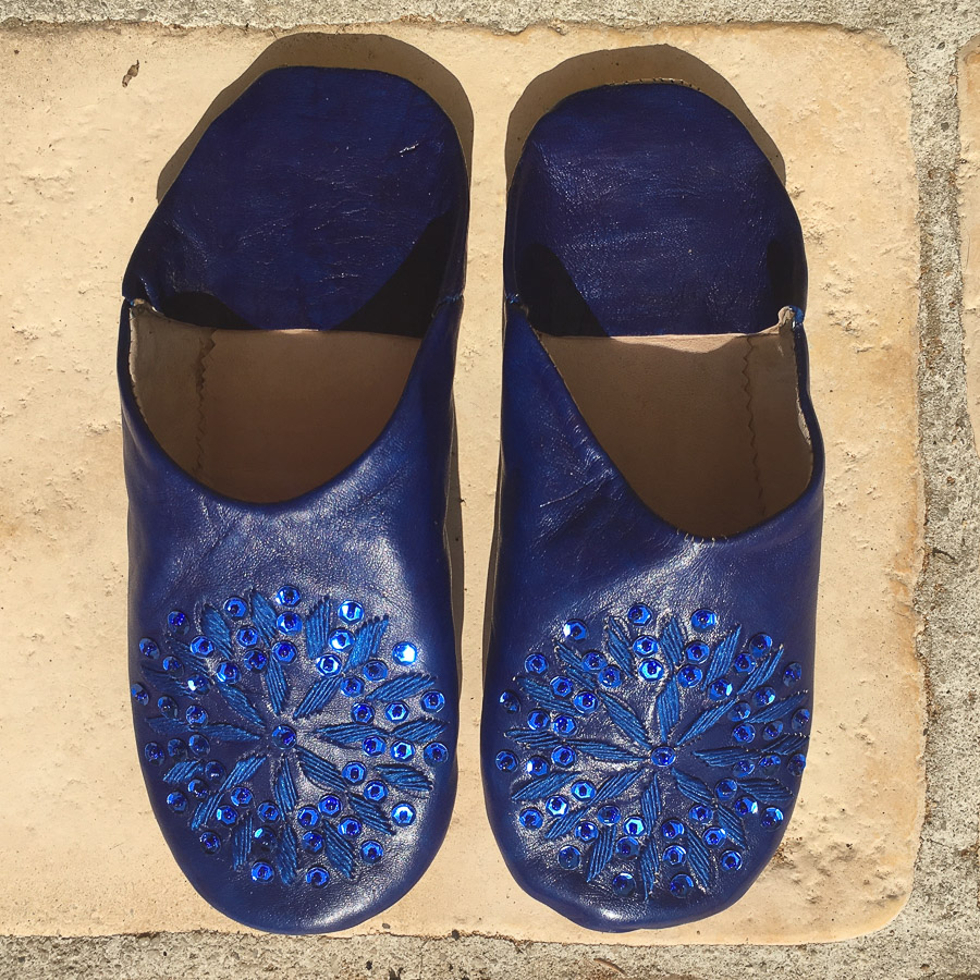 Babouche Slippers Embroidery & Sequins  - Ultramarine Blue
