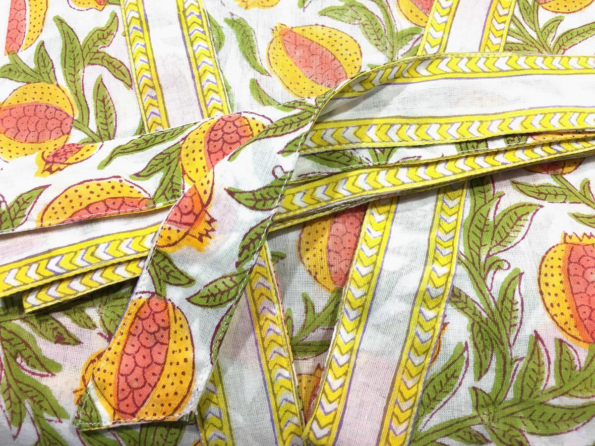 Block Print Kimono Robe Pomegranate Multi