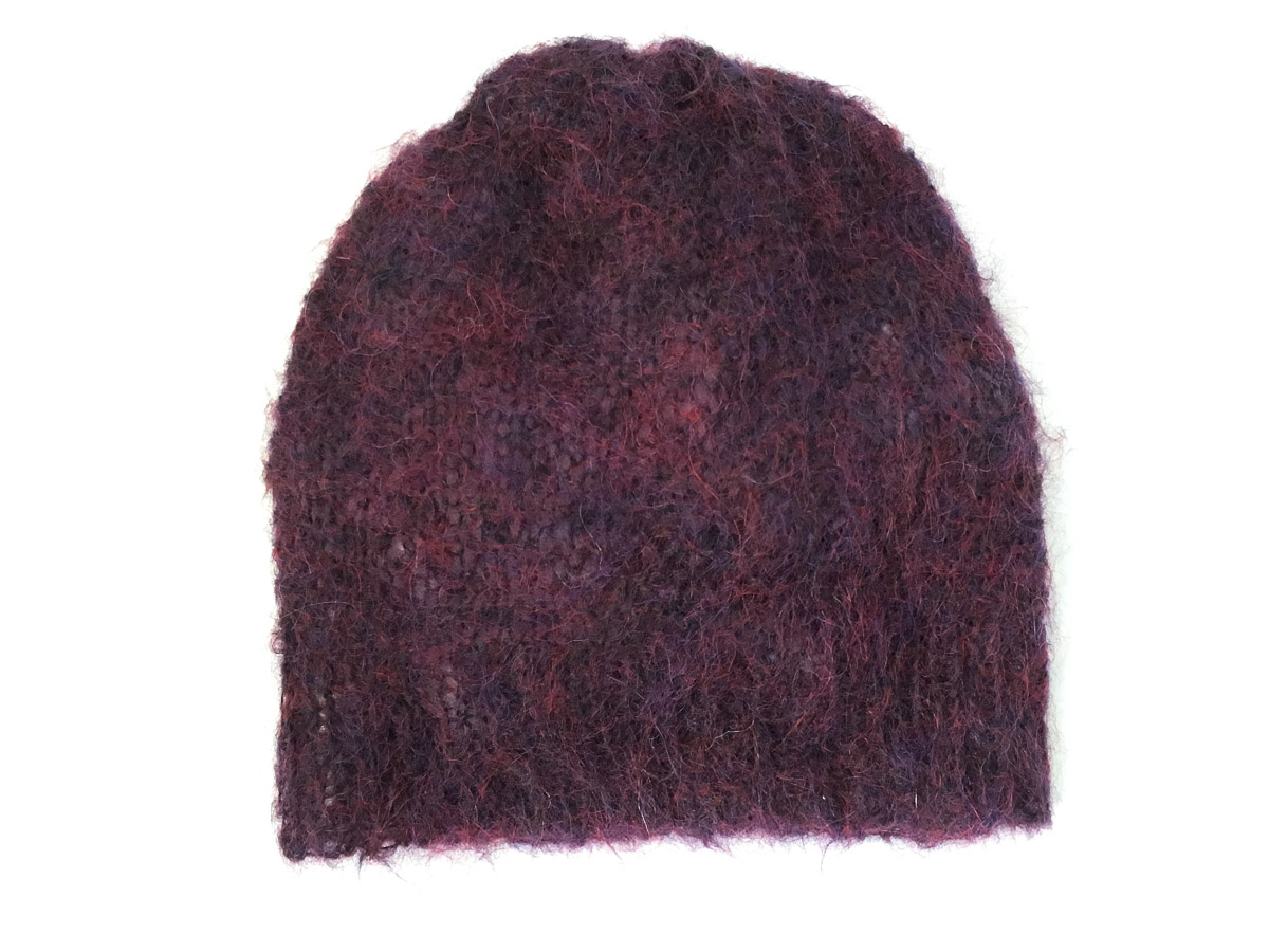 Handknit Mohair Cloud Hat Dark Red