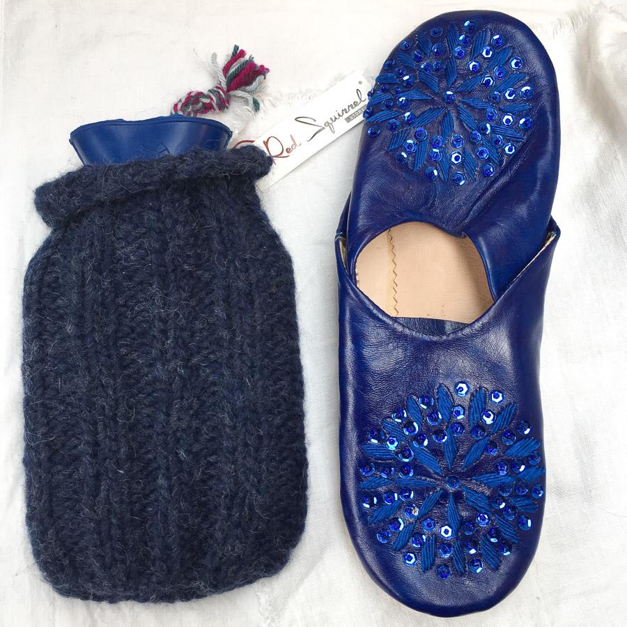 Mini Hot Water Bottle & Cover Dark Blue