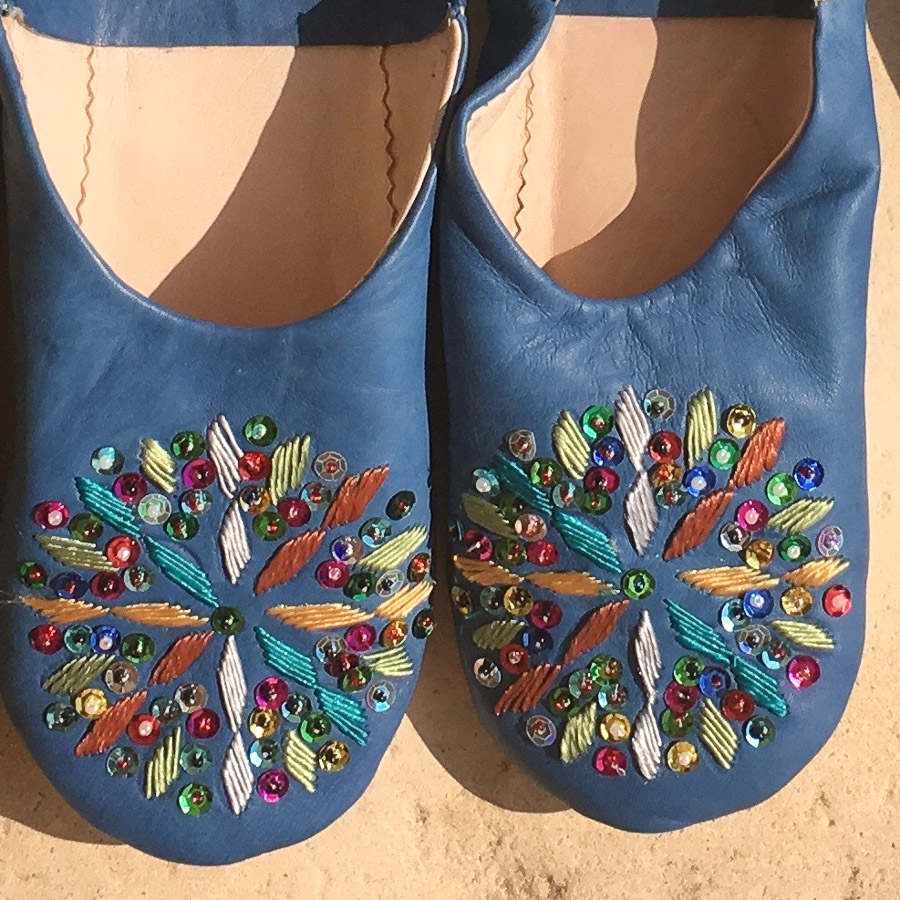 Babouche Slippers Embroidery & Sequins  - Mid Blue Multi