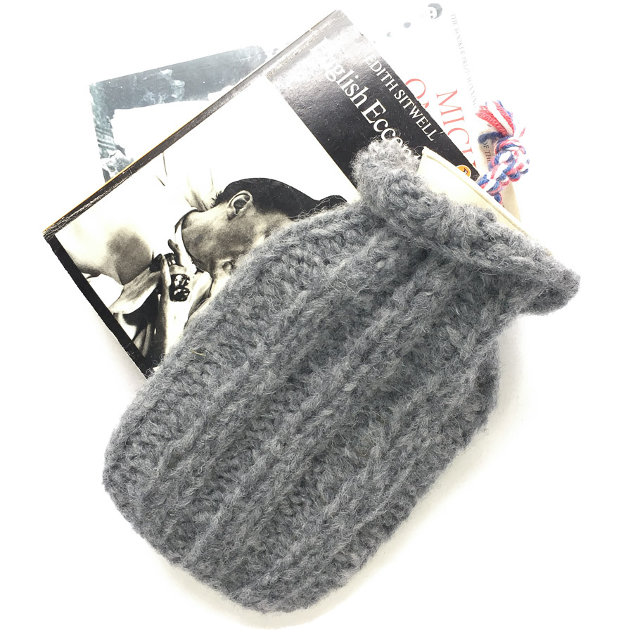 Mini Hot Water Bottle & Cover Grey