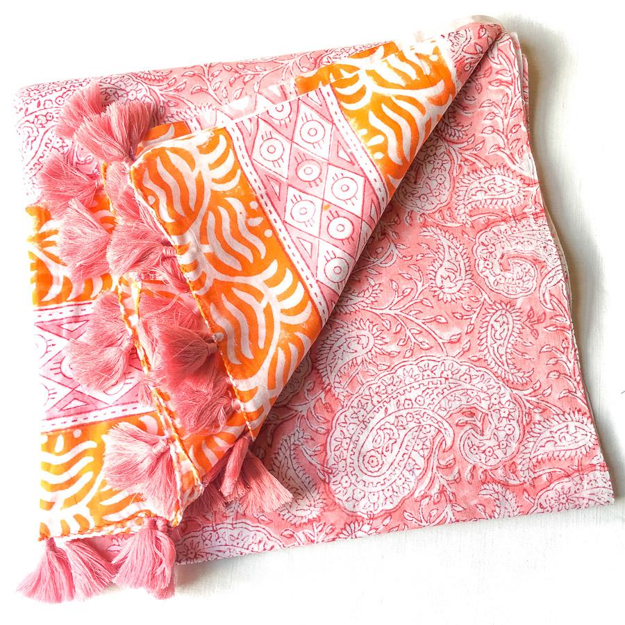 Block Print Tassel Sarong Swirl Paisley Salmon Pink with Orange