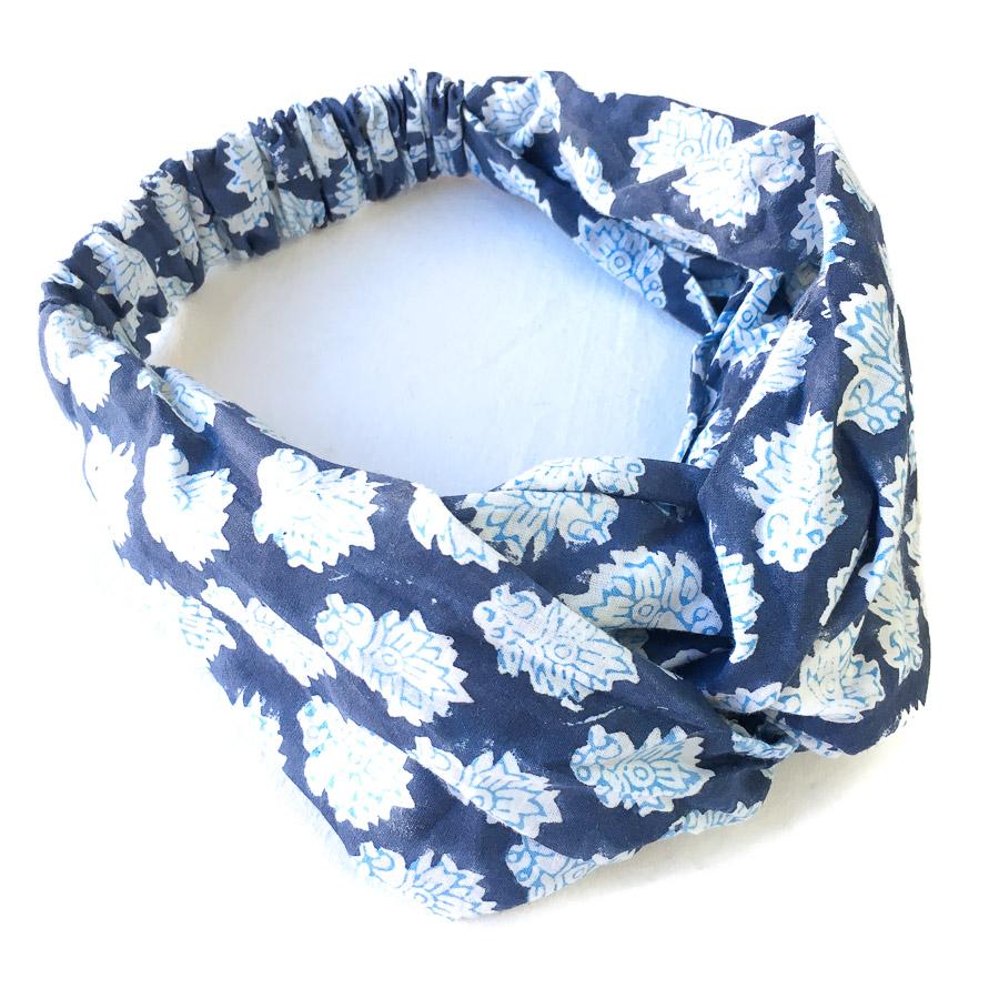 Turban Headband - Indigo Blue Motif