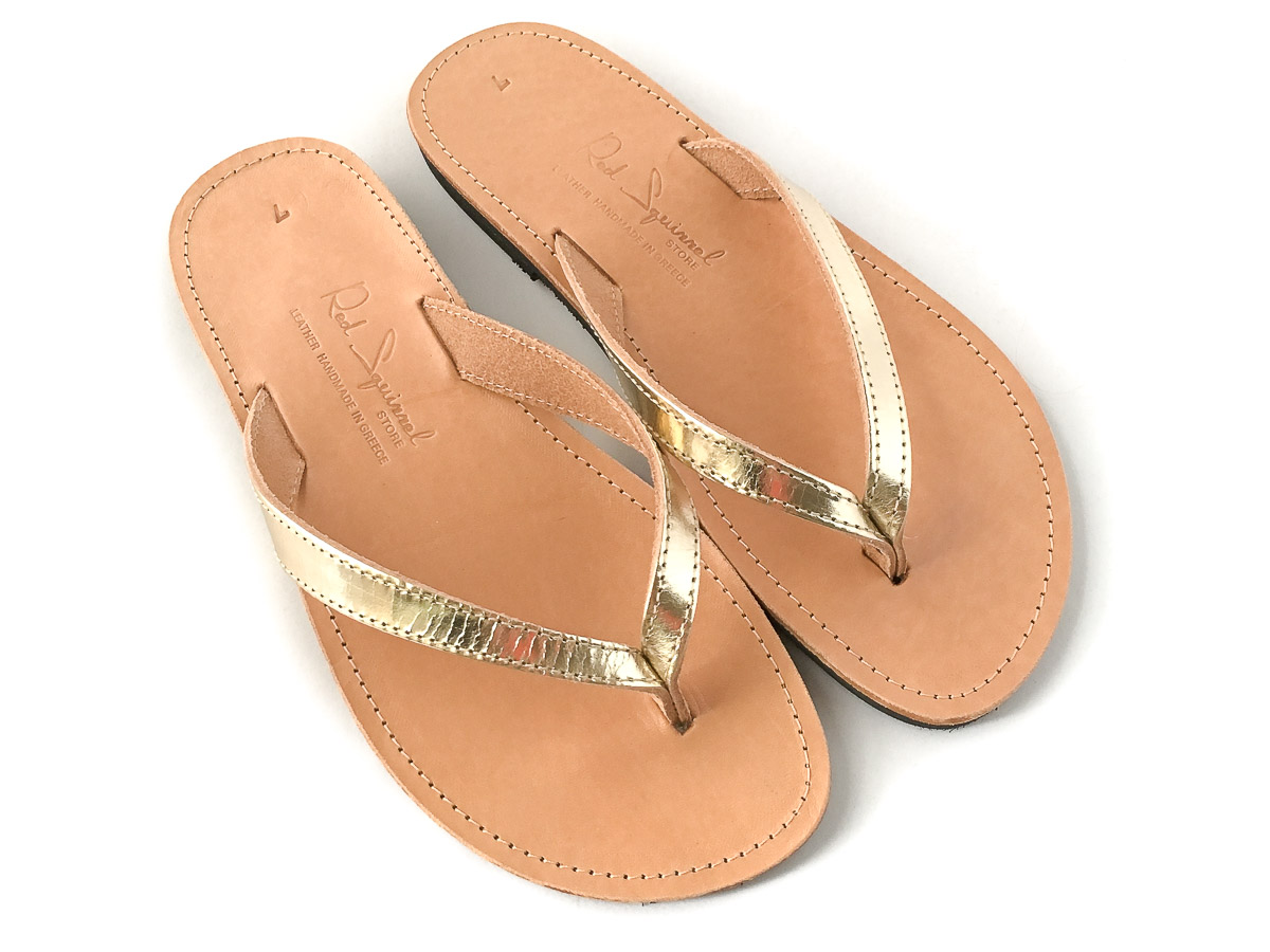 Classic Leather Flip-Flop Sandals Gold