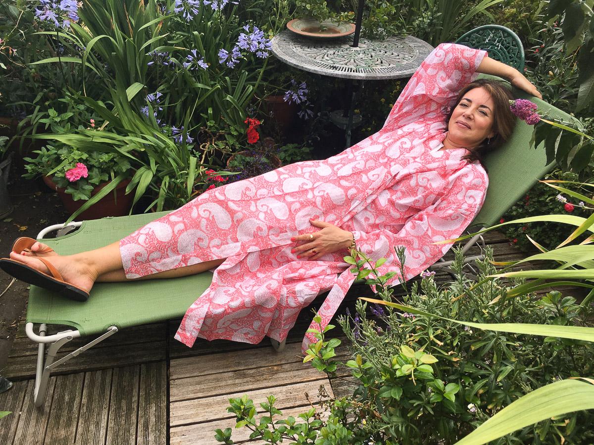Big Yukata Kimono - Swirl Paisley Warm Pink