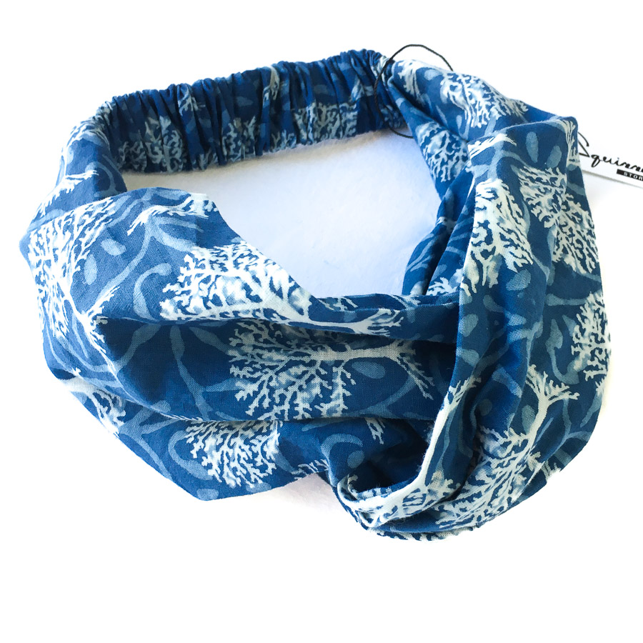 Turban Headband - Indigo Blue Tree Motif
