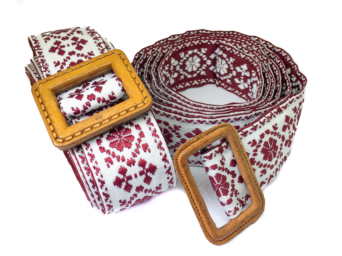 Handmade Fabric Belt - Baltic Sunlight Med Reversible Dk Red & White