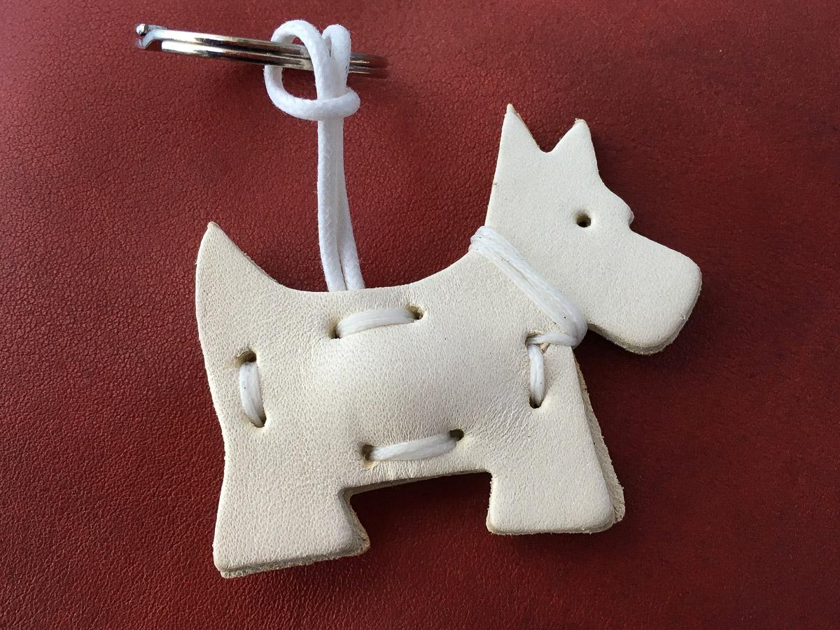Leather Terrier Keyring