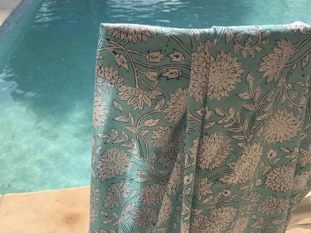 Kimono Robe Floral Aquamarine