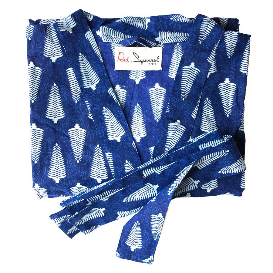 Big Yukata Kimono - Indigo Blue Frond Motif
