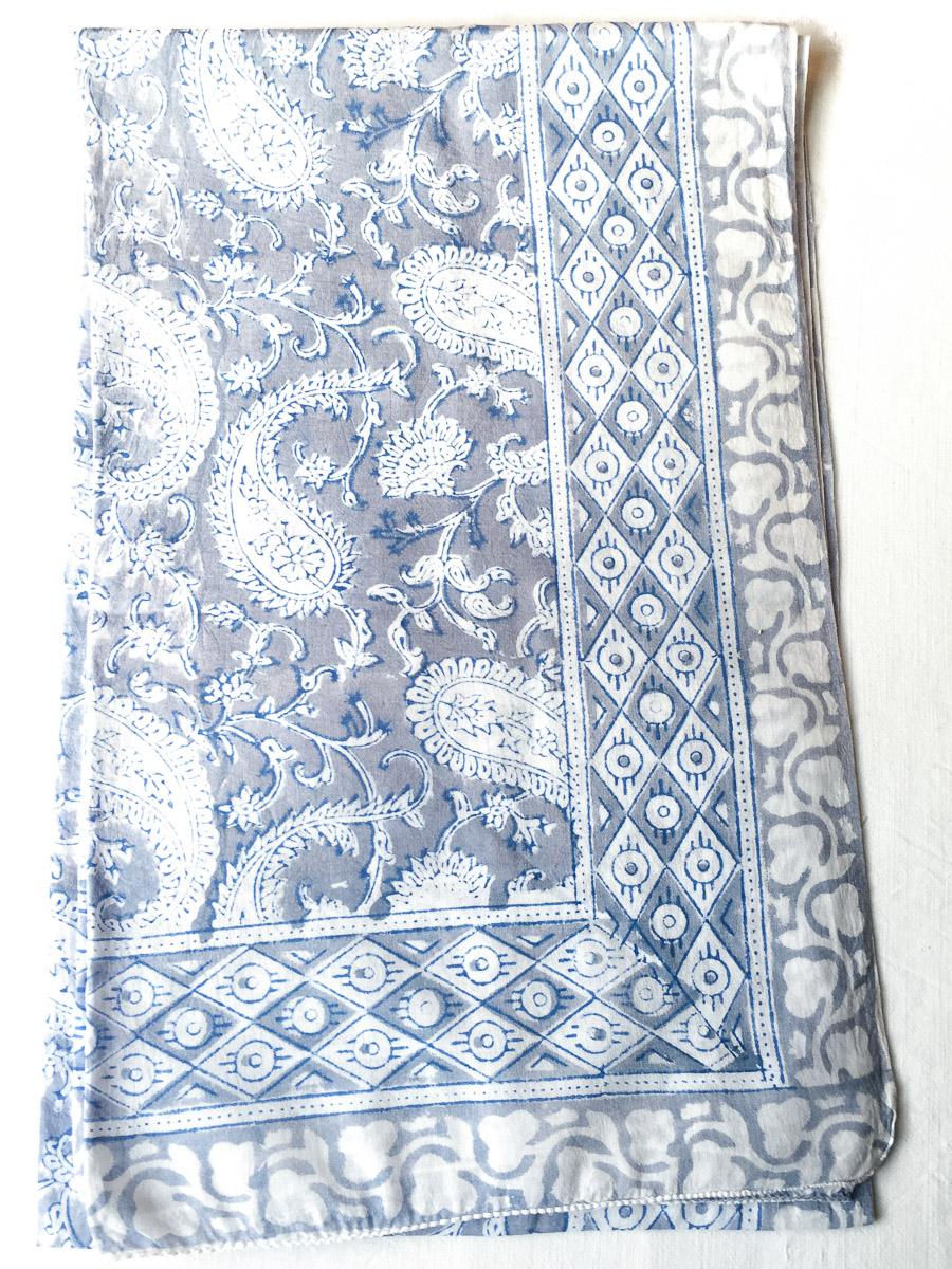 Block Print Sarong Leaf Paisley Silver Grey