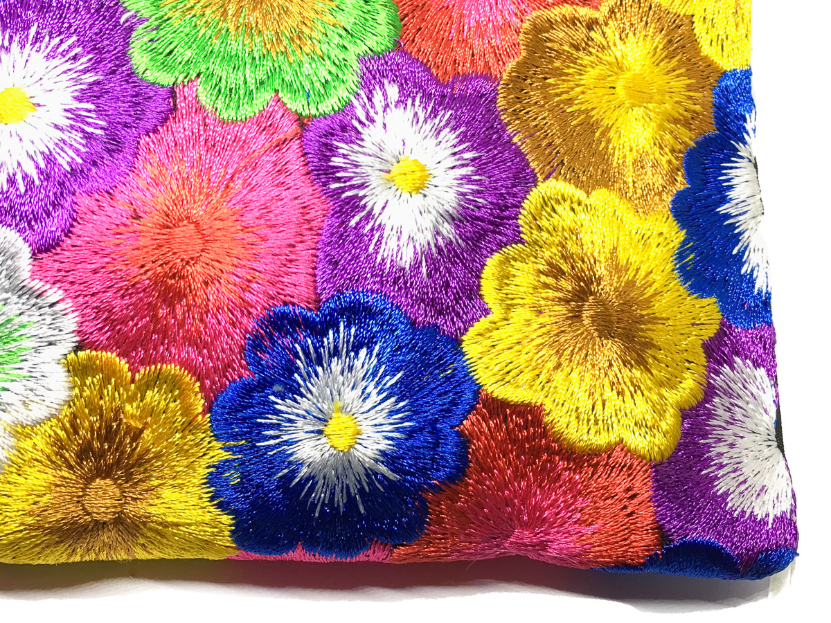 Embroidered Silk Purse 'Crowded Blossoms' Multi