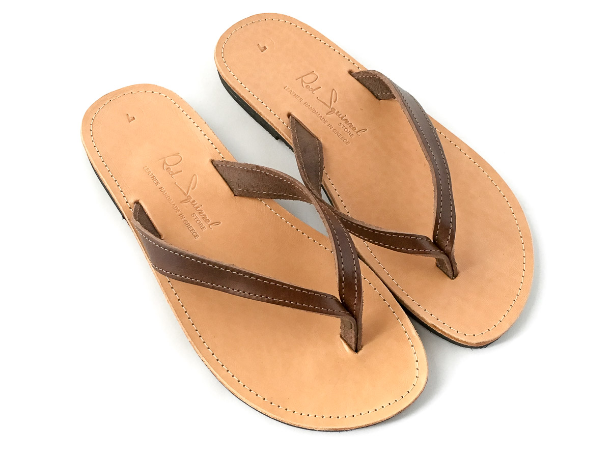 Classic Leather Flip-Flop Sandals Chocolate