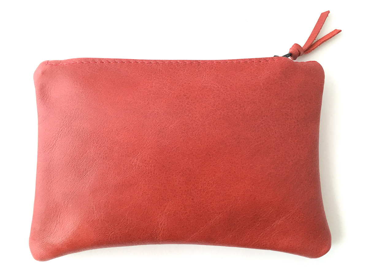 Leather 'Essentials' Zip Purse Maple Red