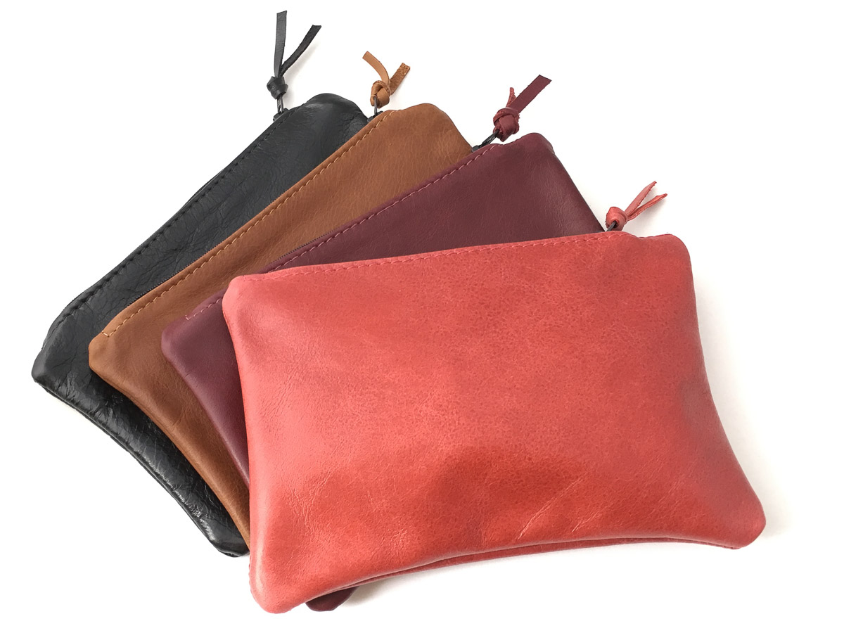 Leather 'Essentials' Zip Purse Maple Red