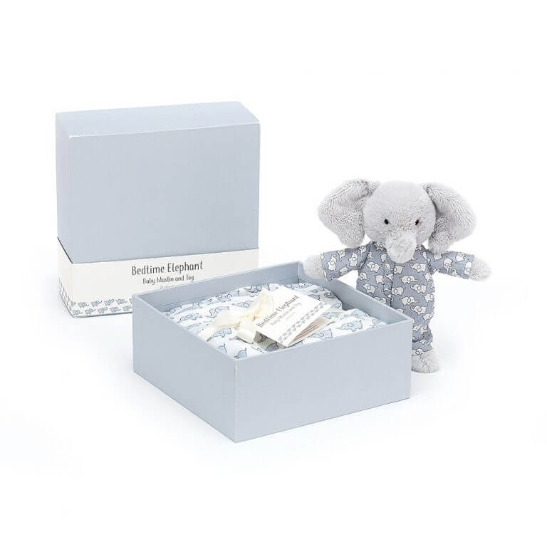 Jellycat norsu ja sideharso lahjapaketissa