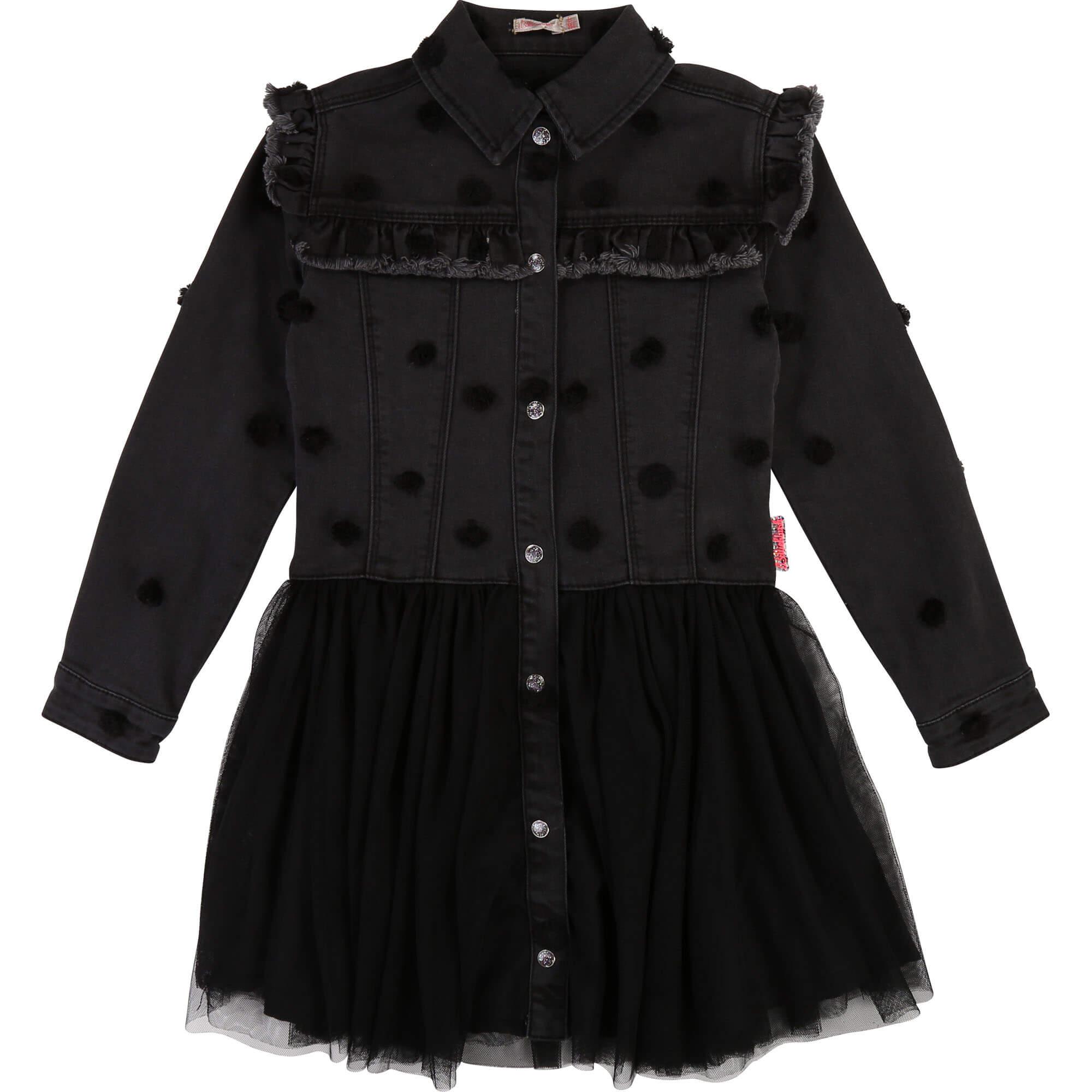Billieblush  harmaa musta rock henkinen farkkumekko koko 150cm ALE -50% (OVH 69€)