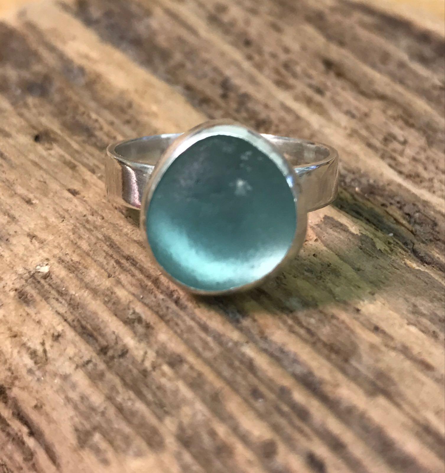 RE196 Eco-silver Sea Glass Ring Seaham Seafoam Green  UK Q
