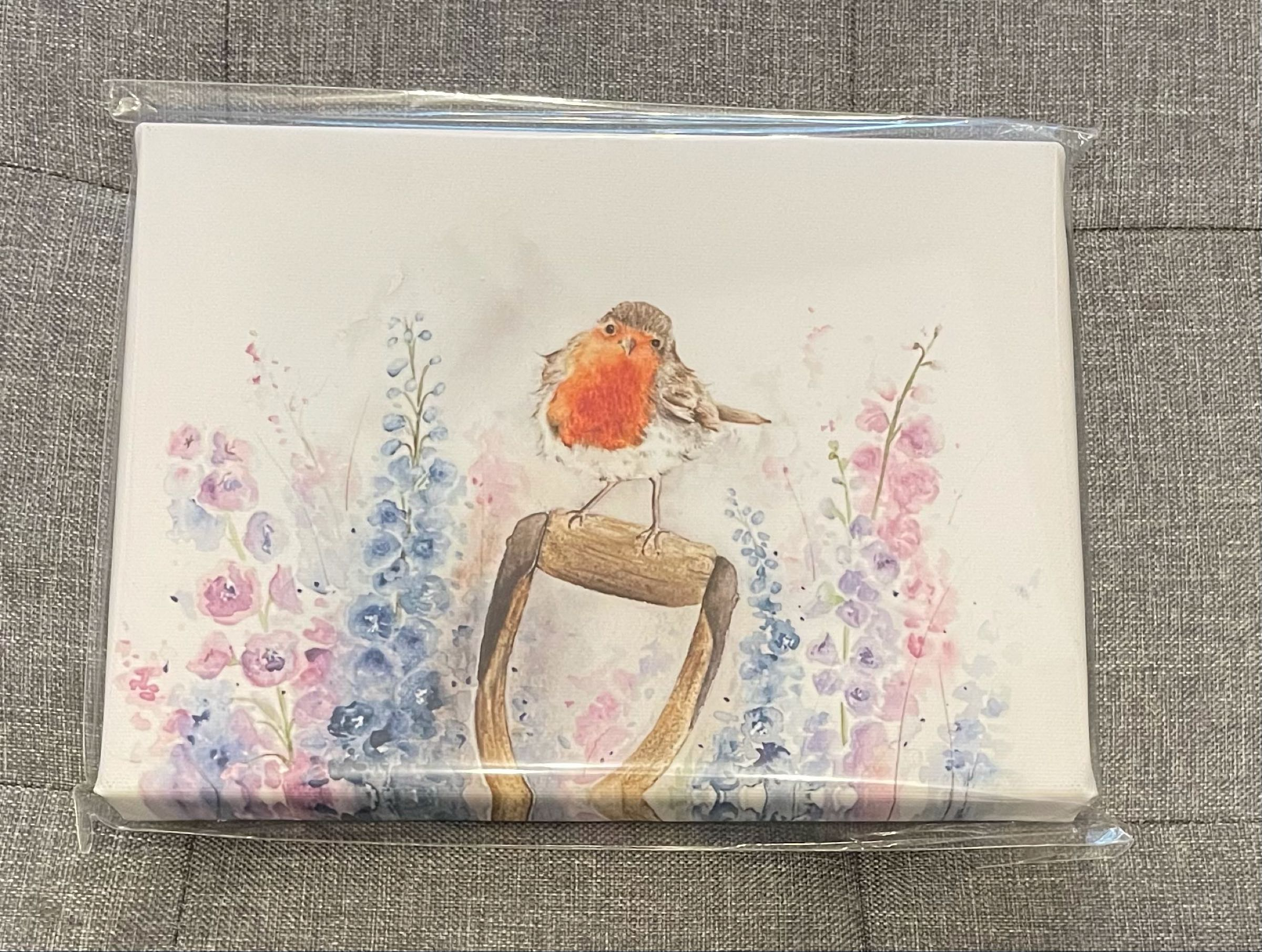 Rosie Robin Canvas by Sarah Reilly  15cmx21