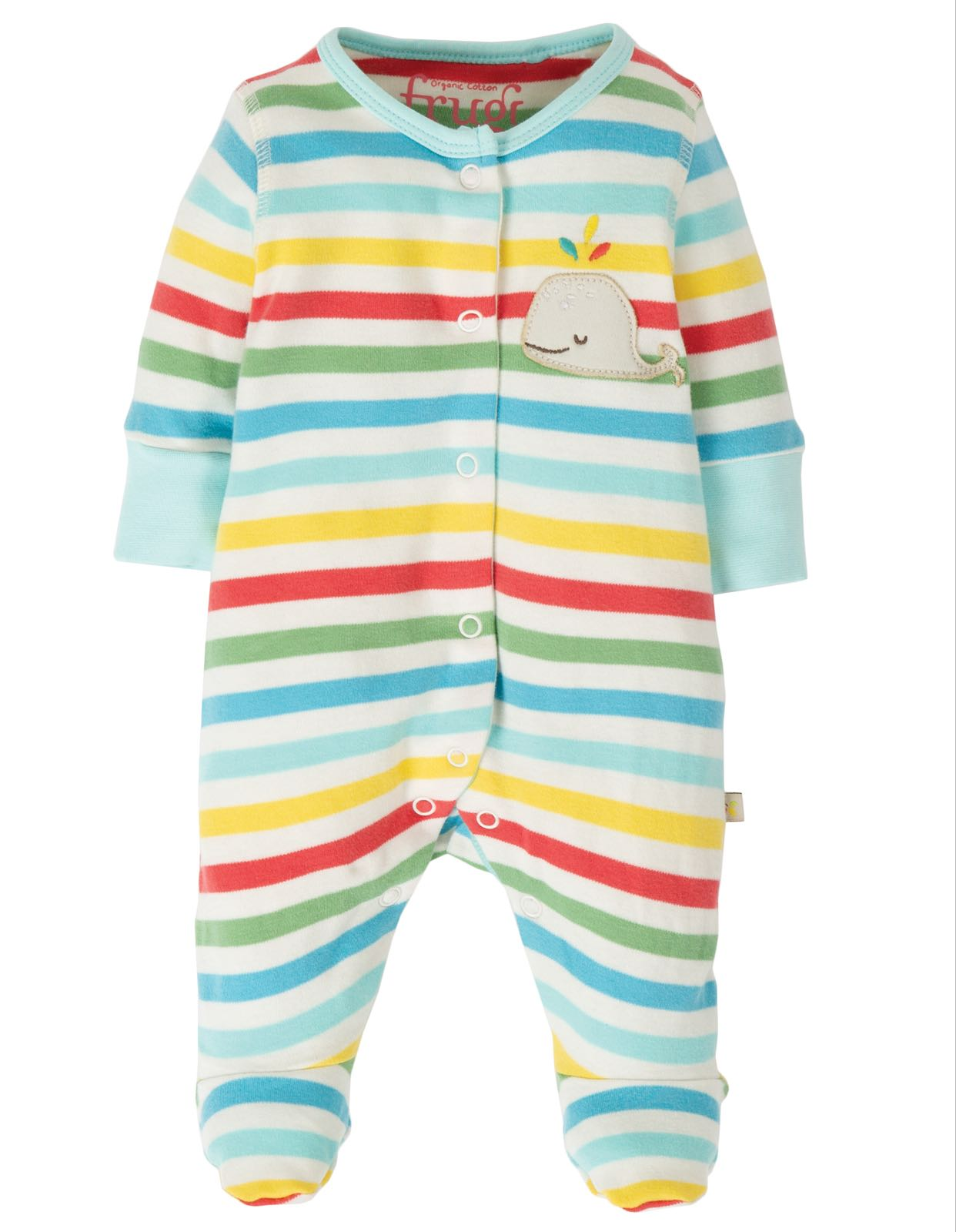 Frugi Little Appliqué Babygrow, My First Frugi Multistripe
