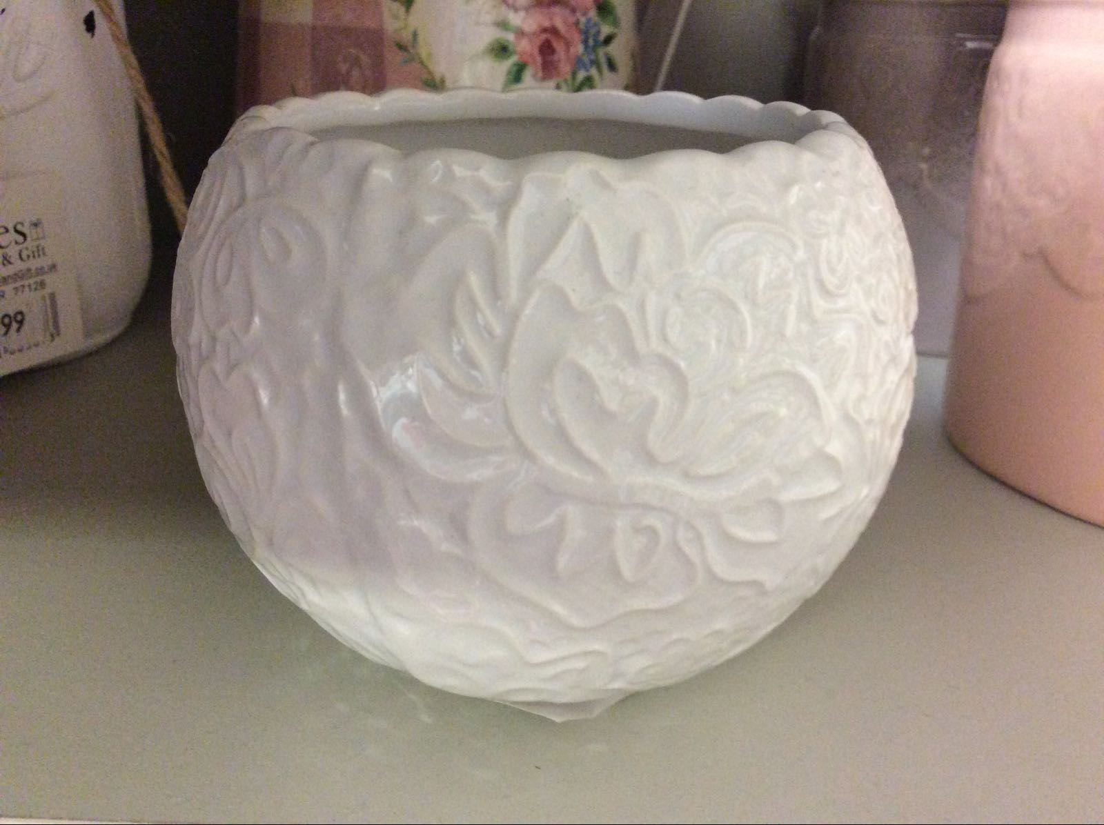 White Embossed Candle Holder