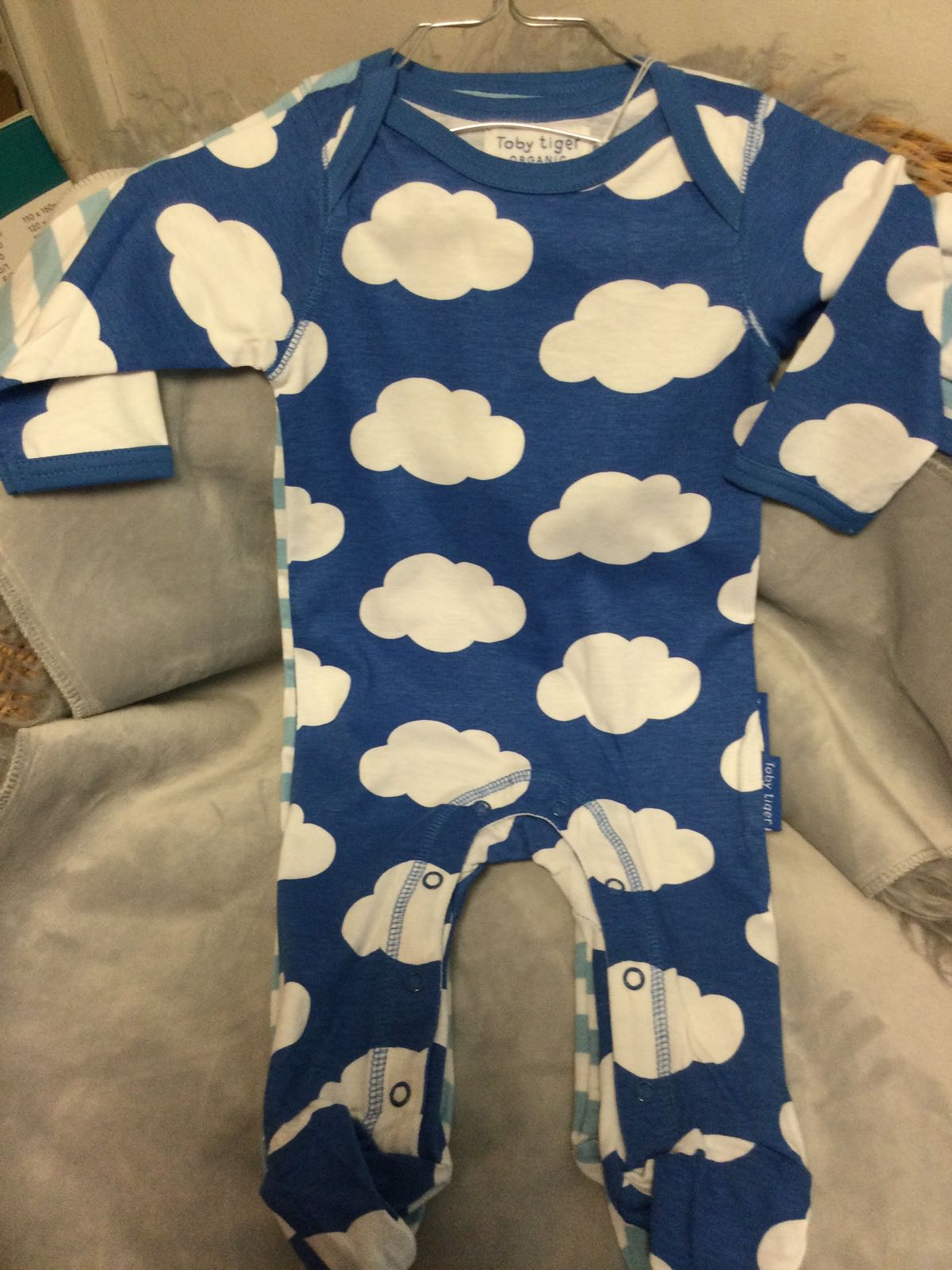 Toby Tiger - Sleep suit with feet 2 pack - cloud- 6-12 months