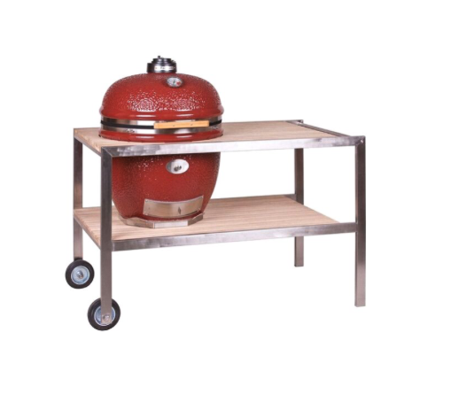 LeCHEF - stainless steel & teakwood table, 201003-L