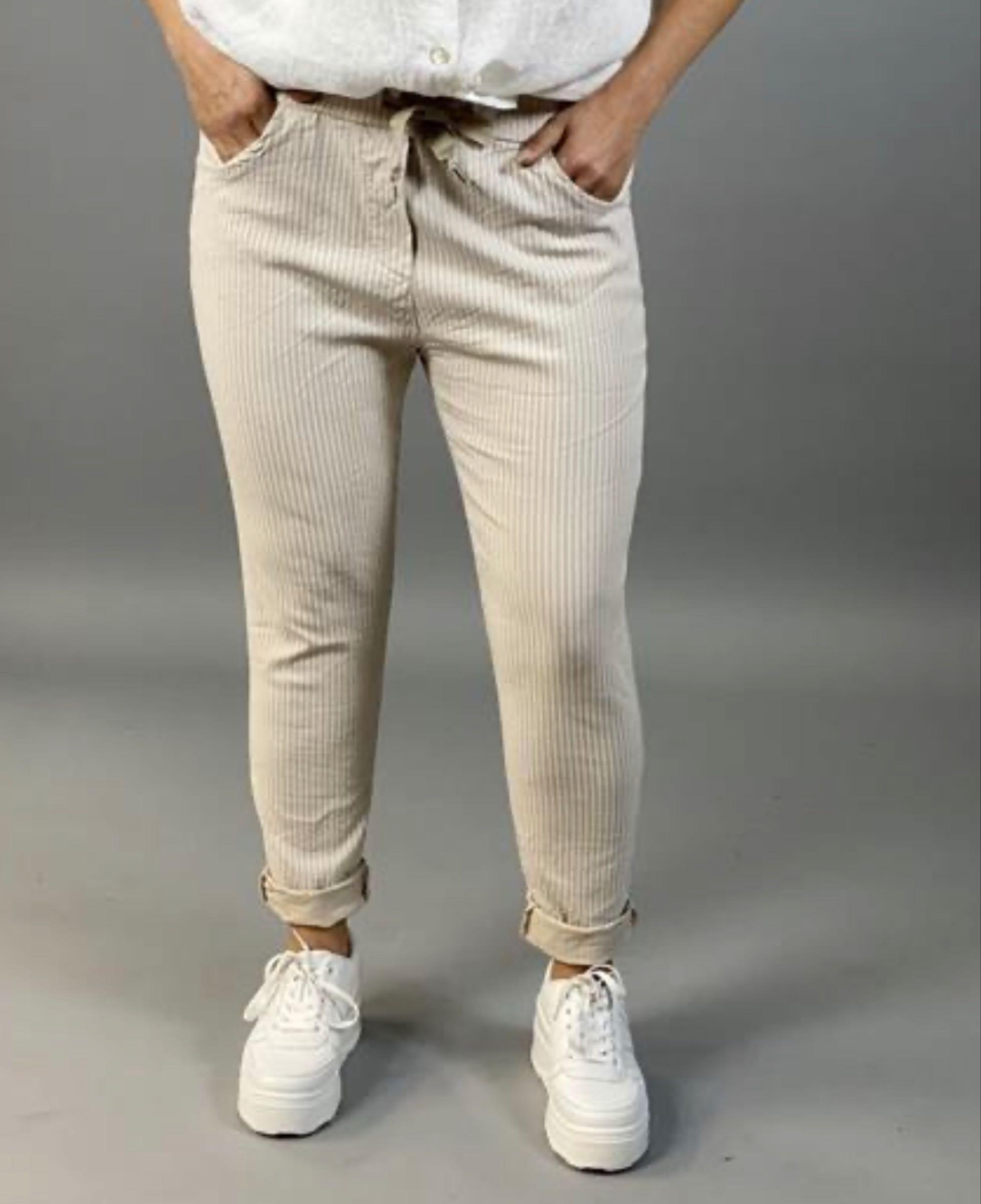 SIGNE stretchbyxa, beige rand