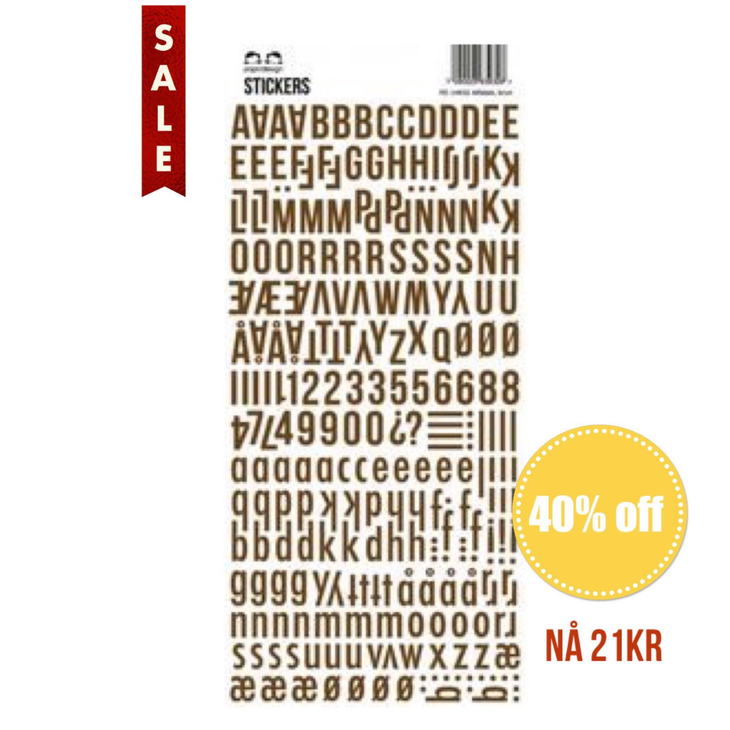 Papirdesign Alphabet Stickers / Klistremerker Alfabet - Brun / Brown
