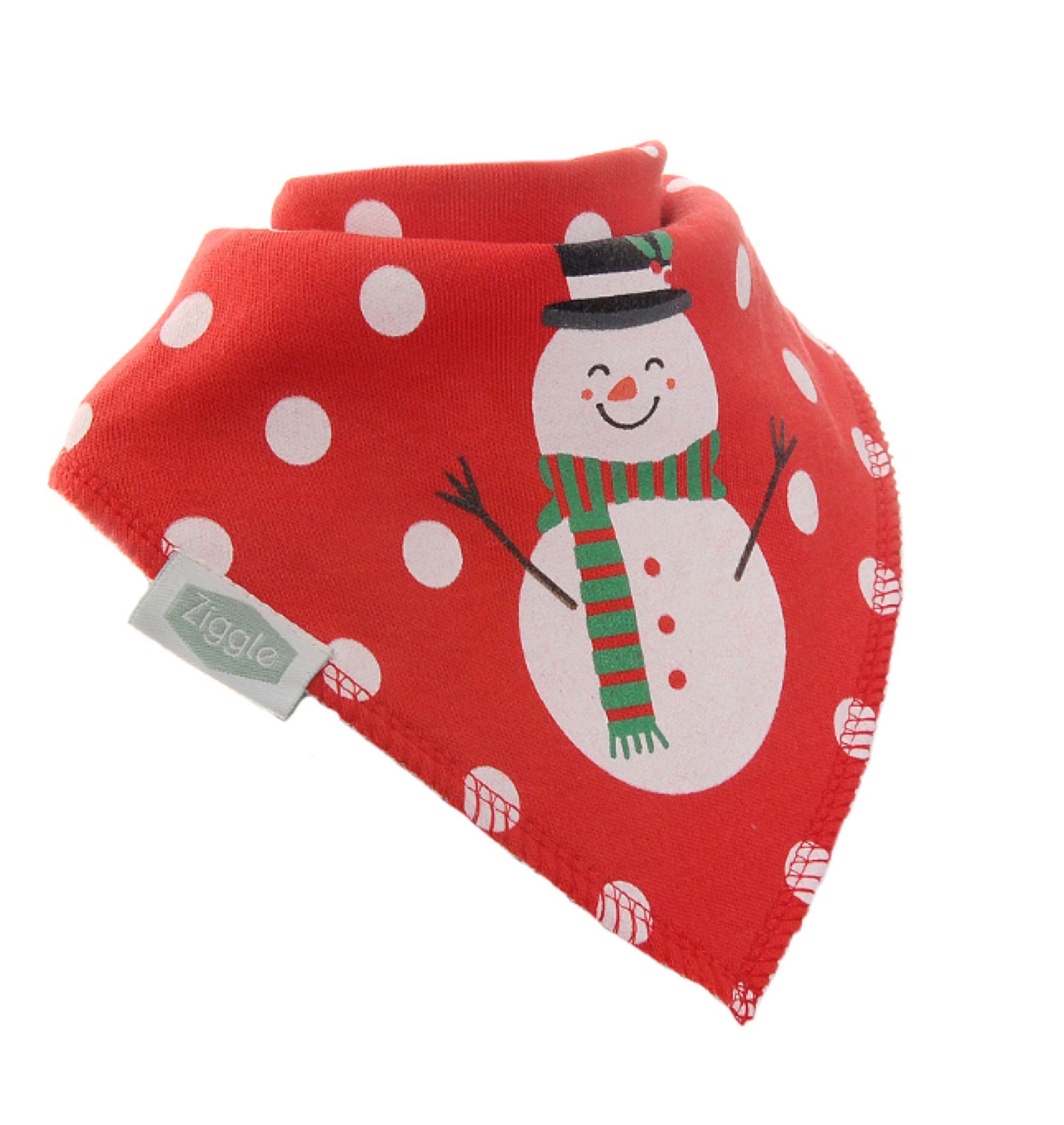 Ziggle Christmas red snowman bandana bib