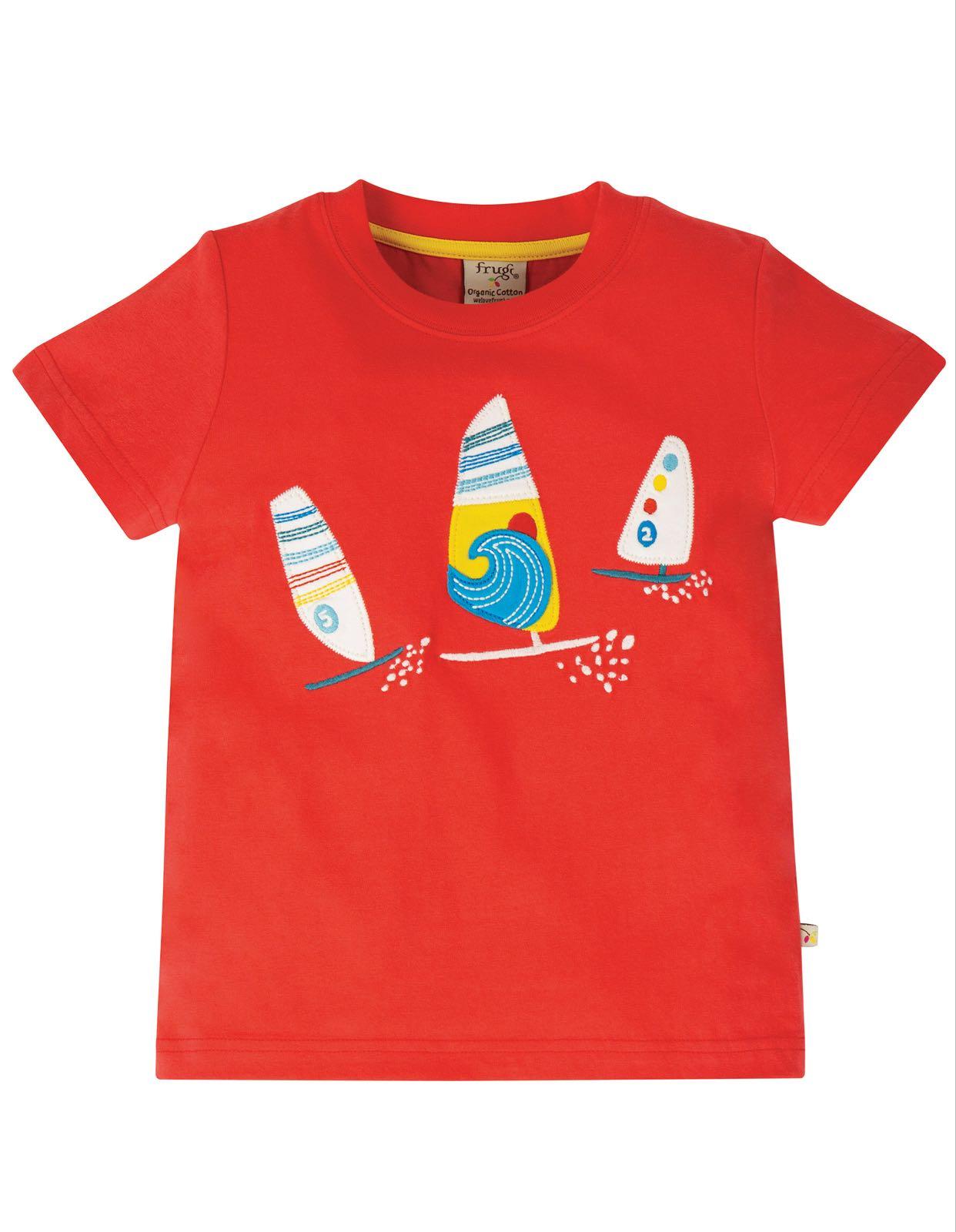 Frugi Stanley Appliqué T Shirt Koi Red Boats