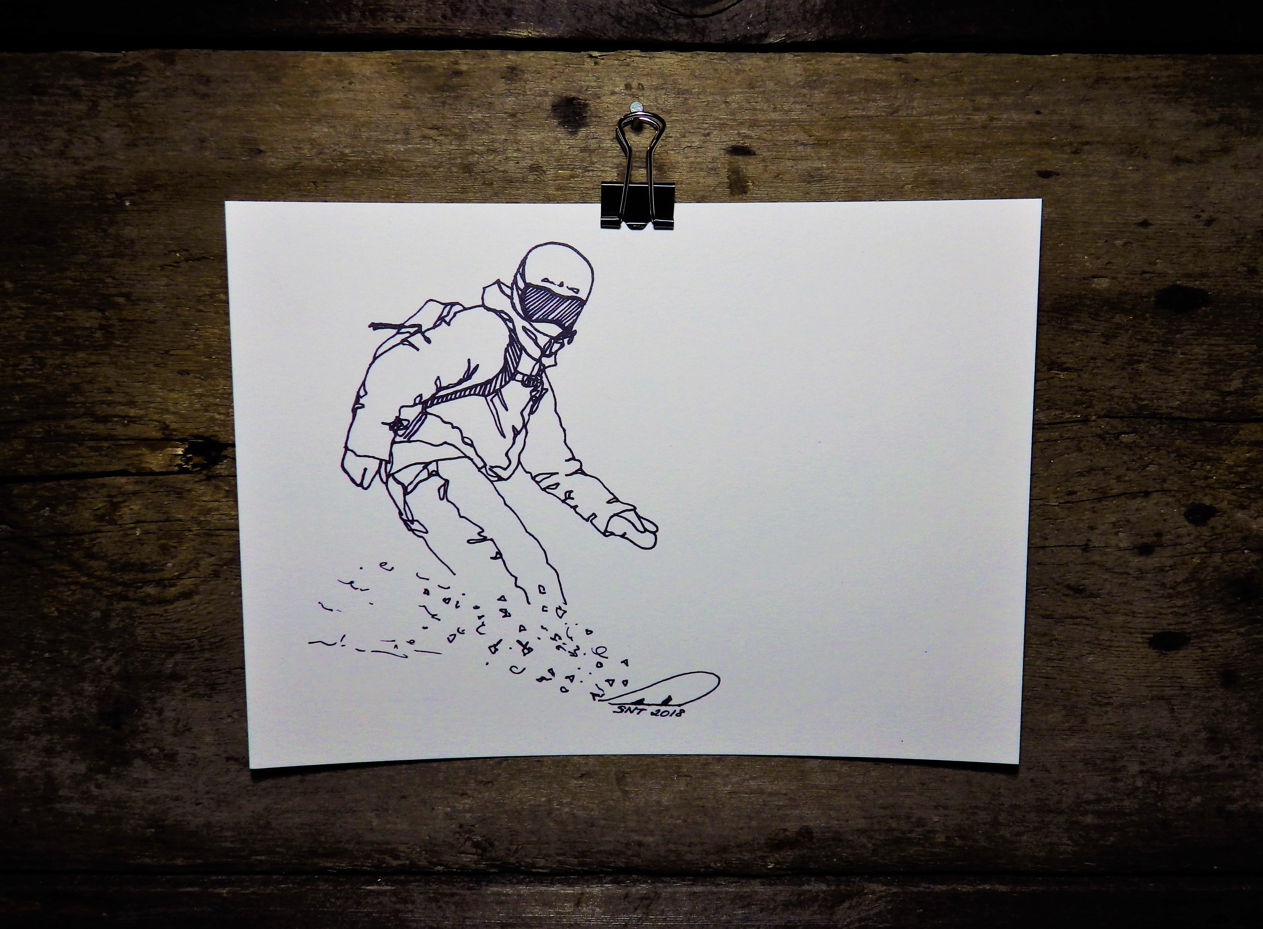 KONSTTRYCK - Snowboardåkare 1
