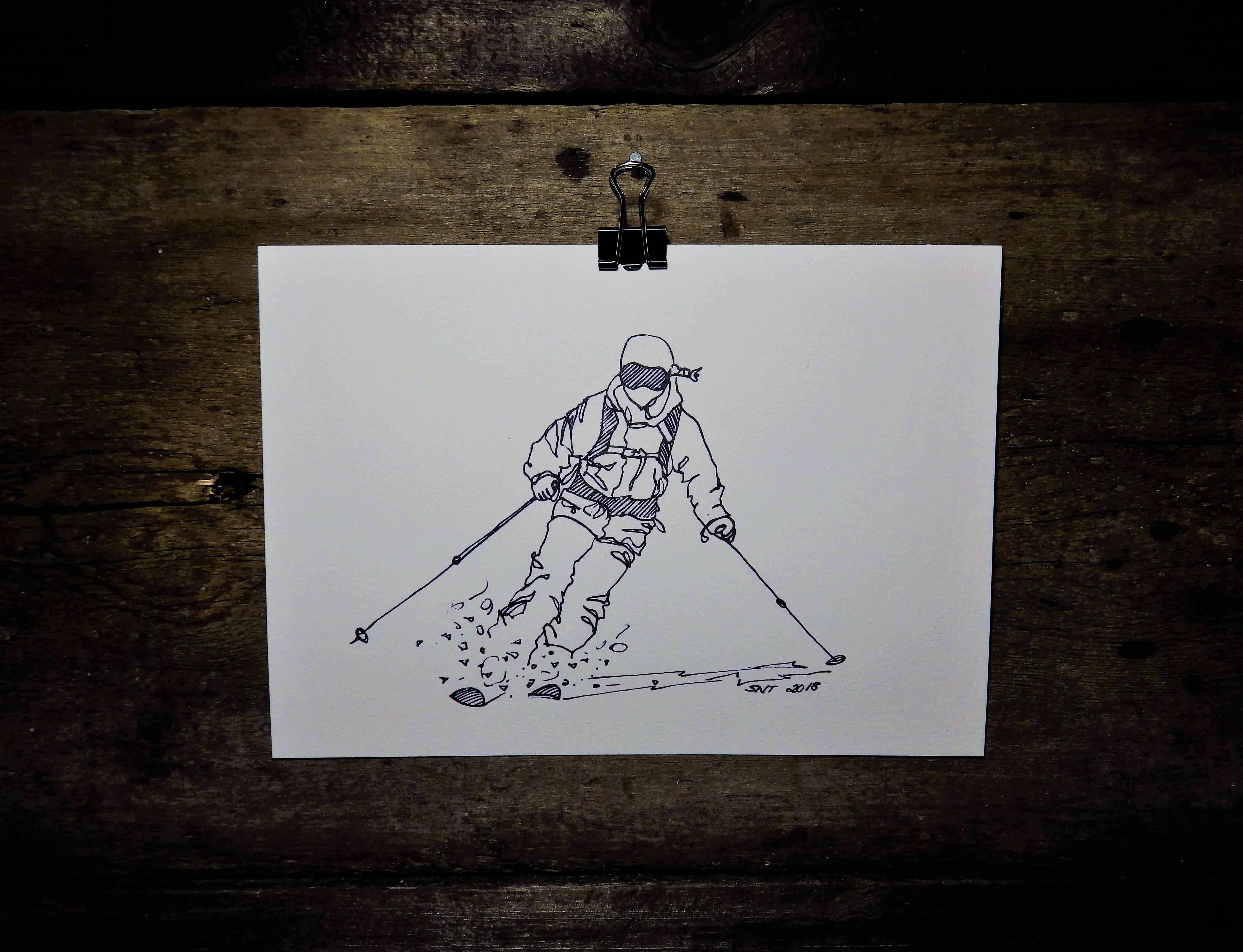 KONSTTRYCK - Skidoåkare 1