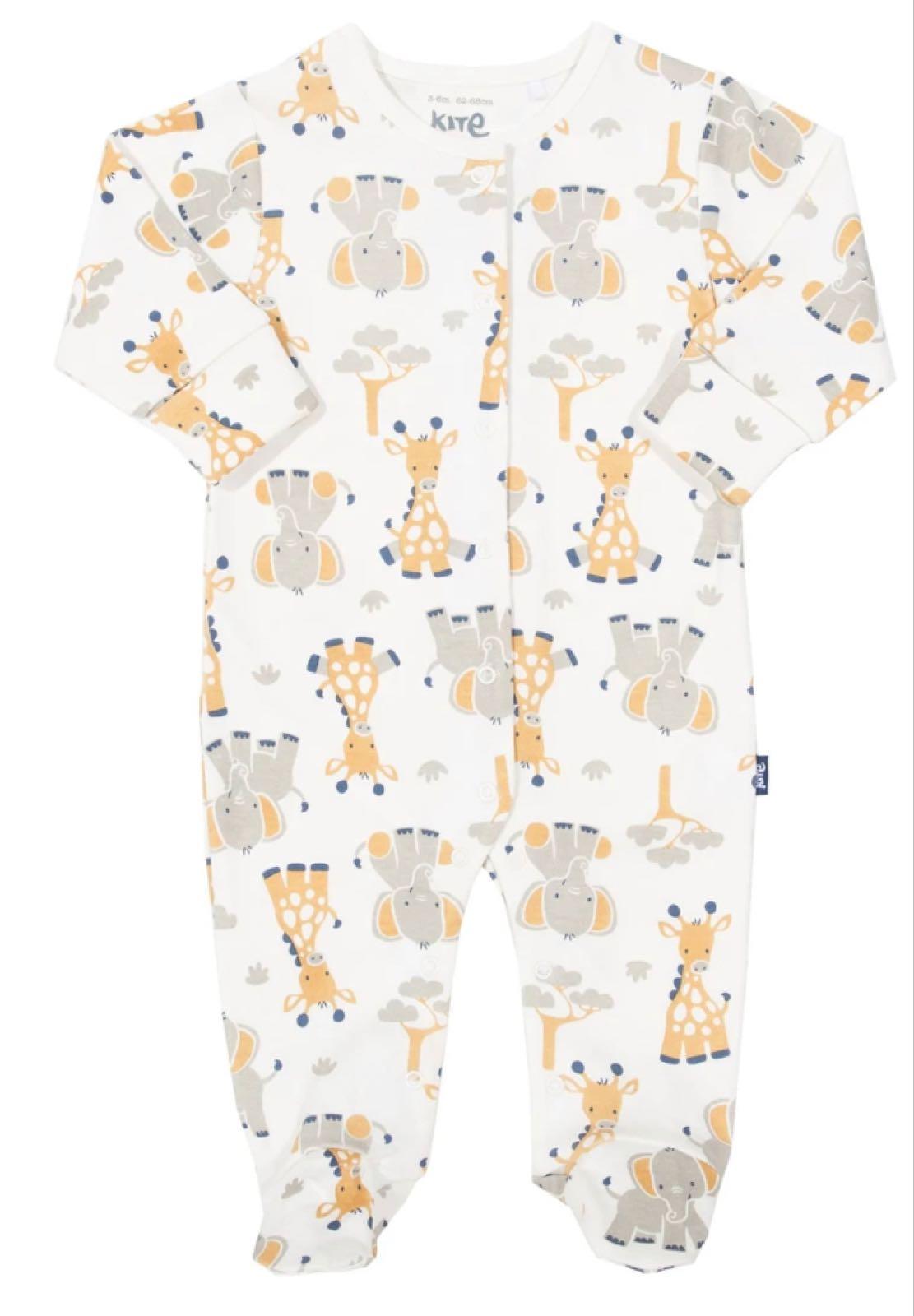 Giraffe and  Elephant Sleepsuit