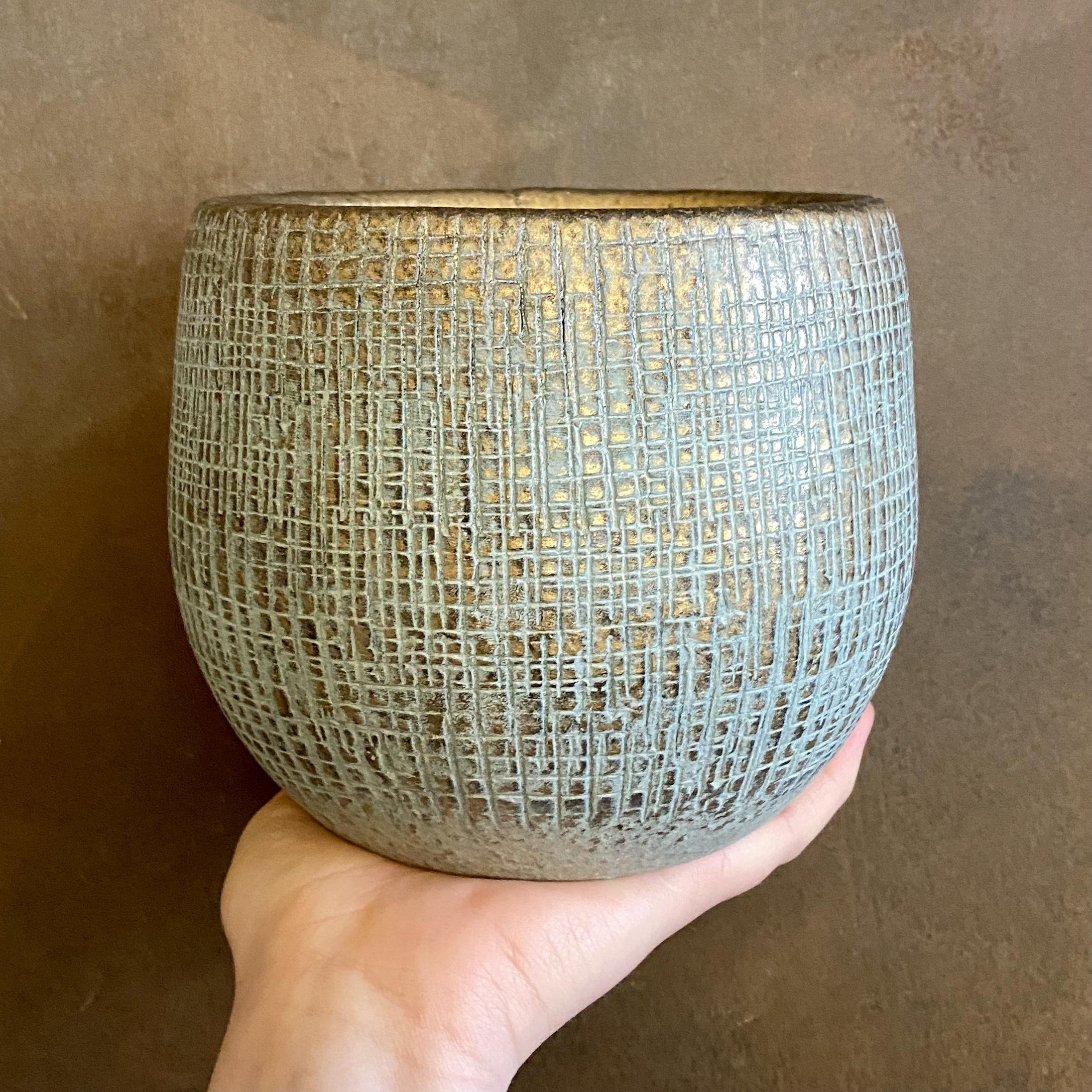 Blue/Gold Checked Pot (14cm)