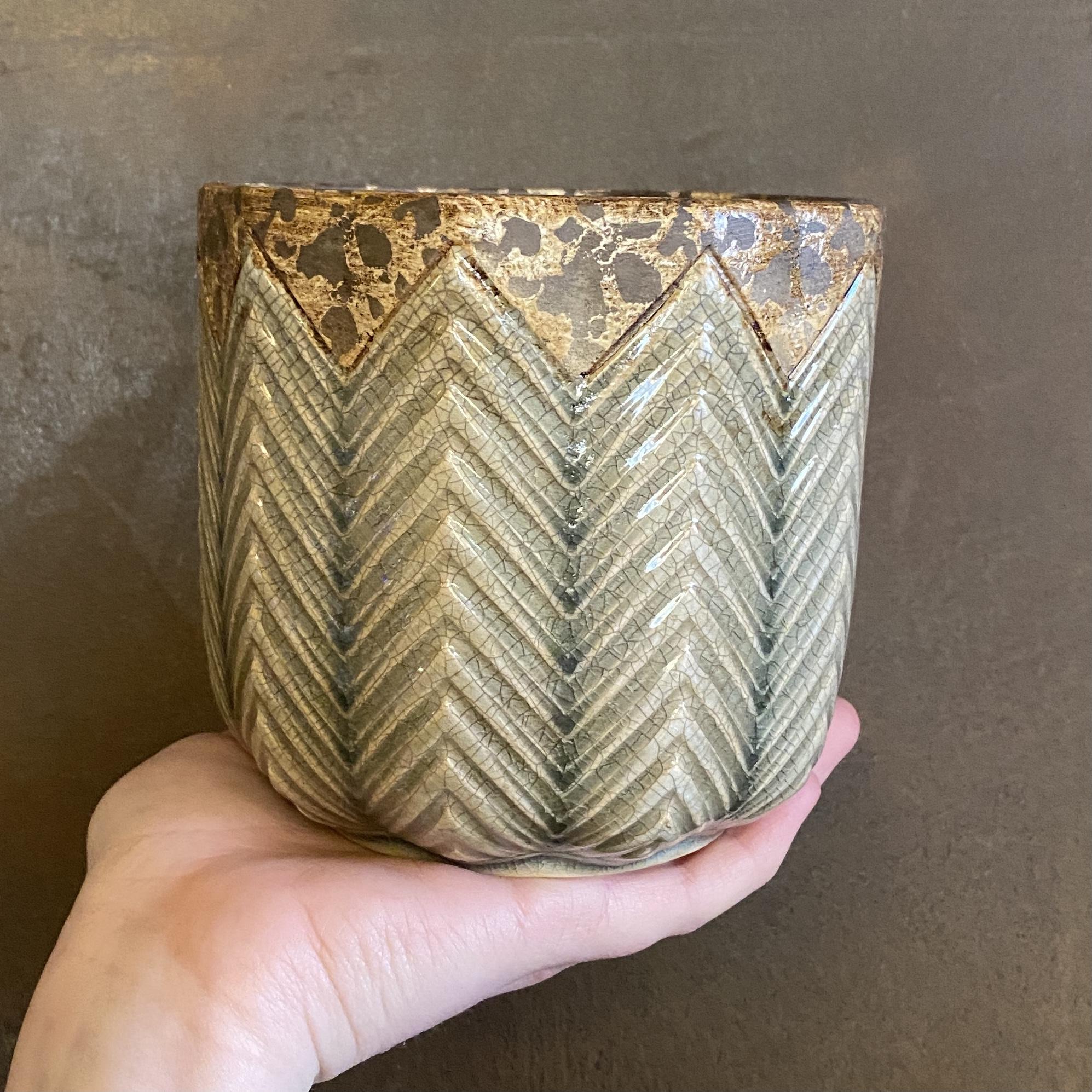 Crackle Glaze Pot (13cm)