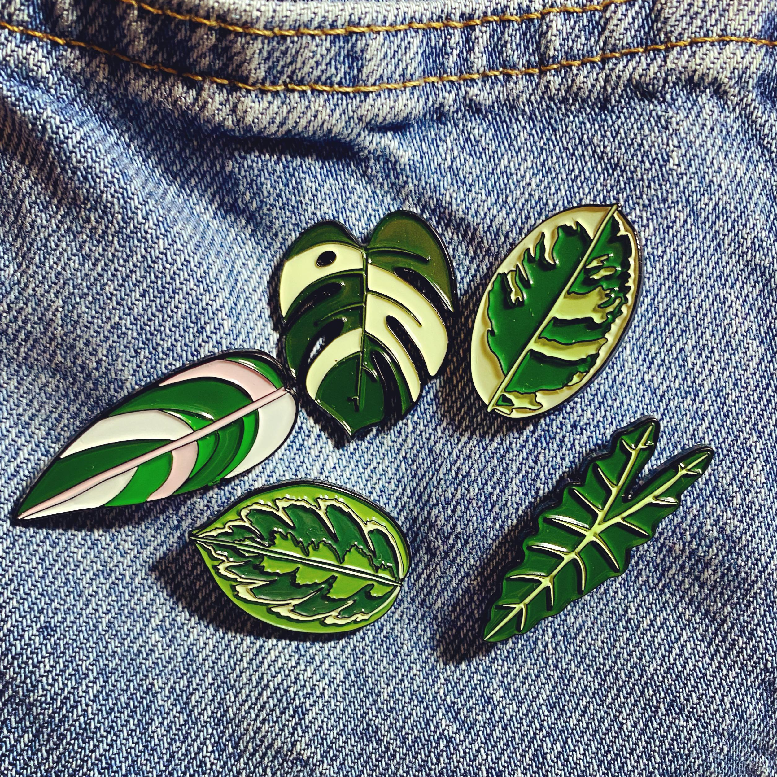 Enamel Leaf Pins