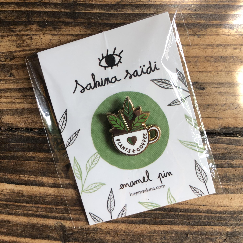 Plants & Coffee Pin