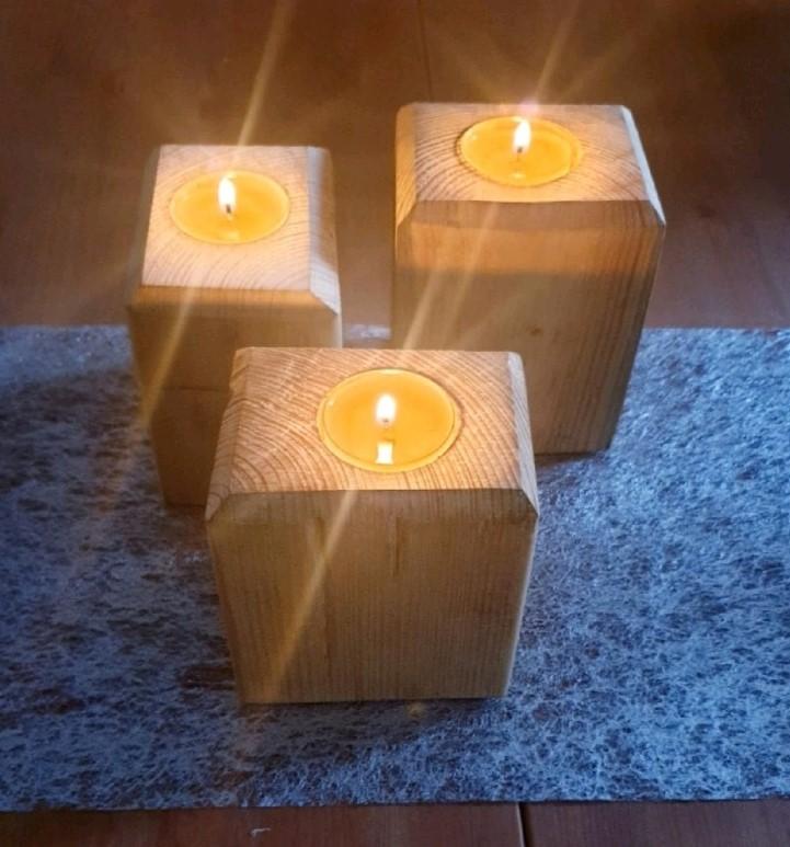 Rustic Single Wooden Tea Light Holders