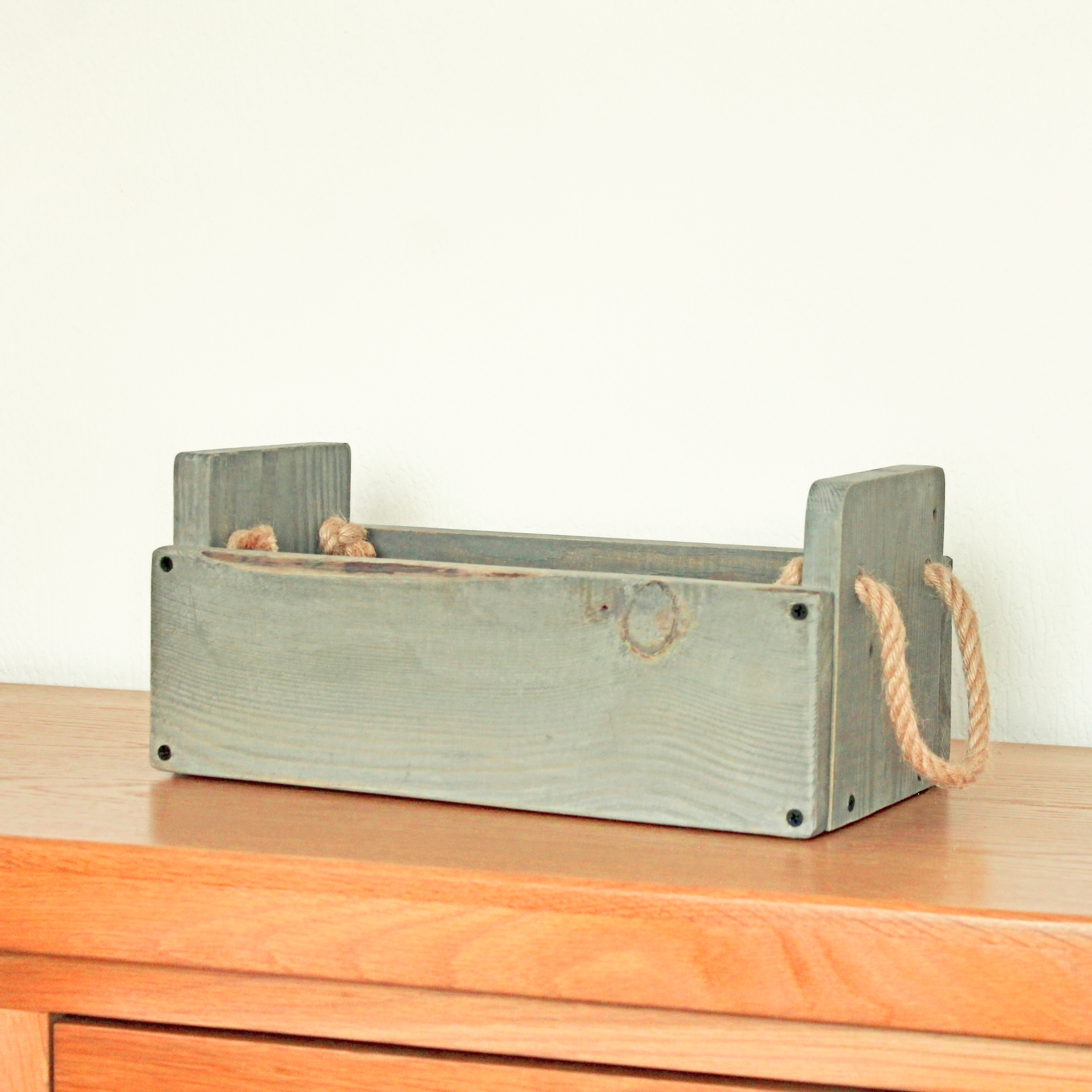 Wooden Box with Rope Handle
