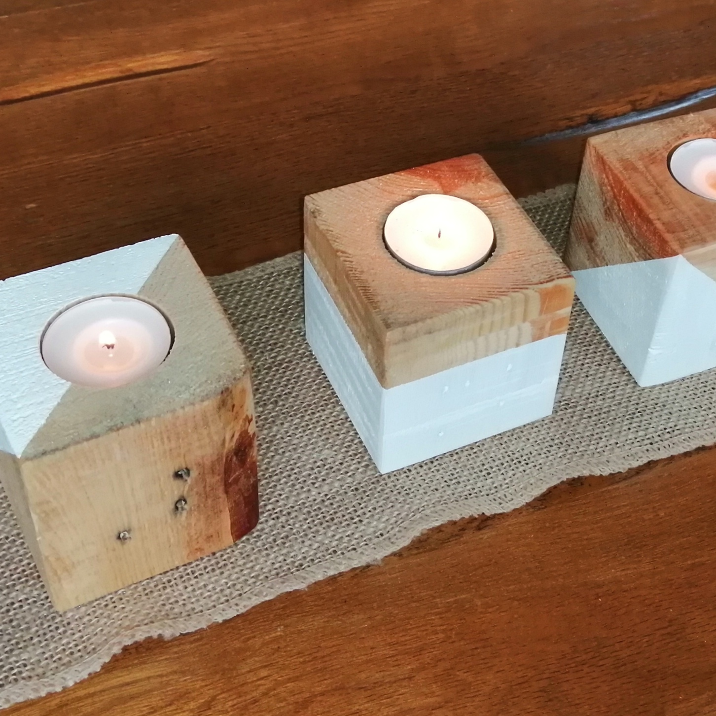 Lovely Part Painted Wooden Single Tea Light Candle Holder