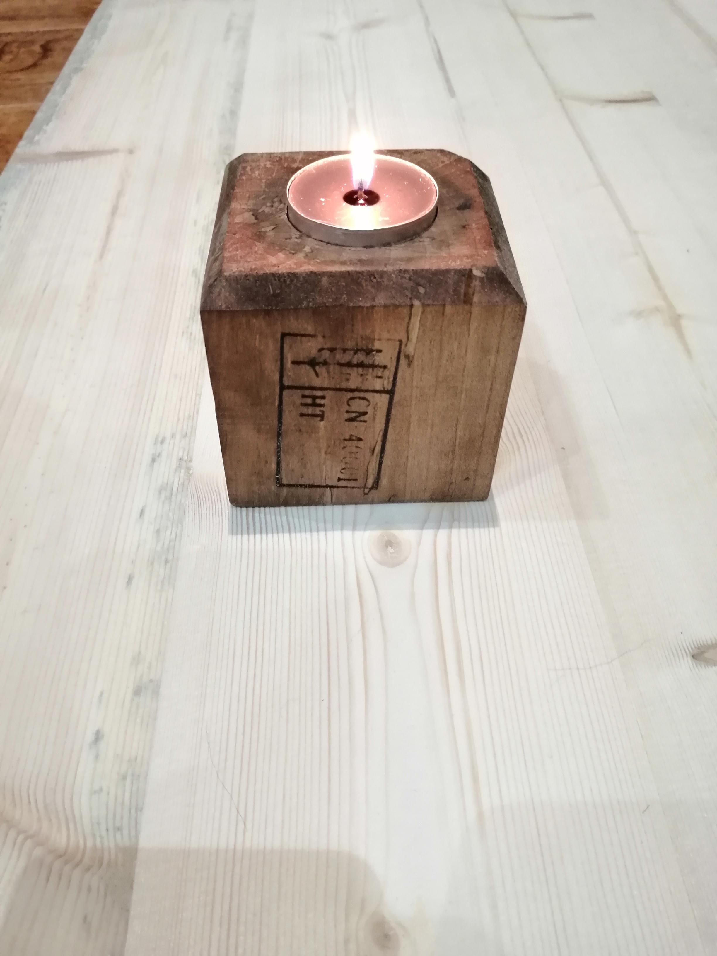 Lovely Wooden Tea Light Candle Holder