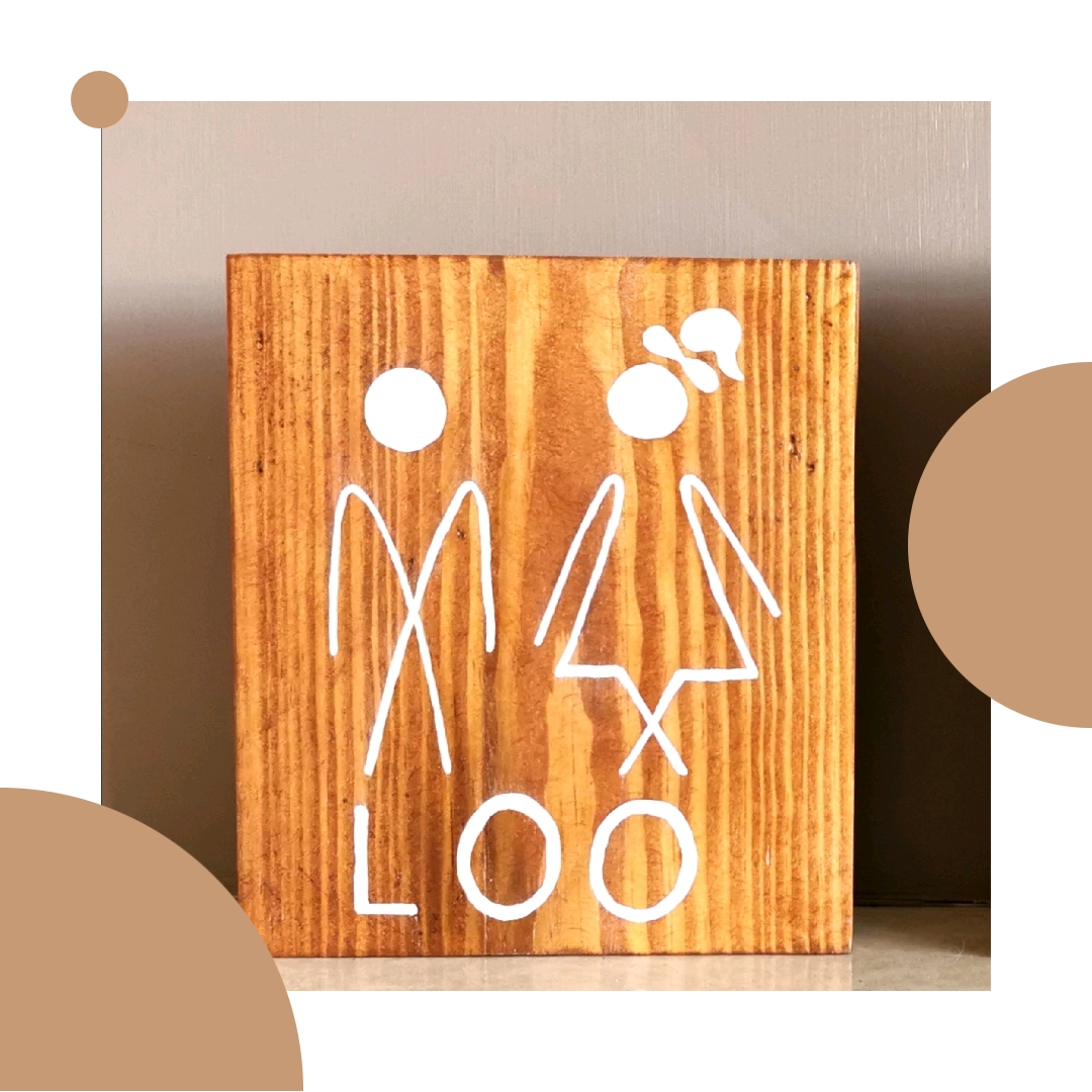 Funny Wooden Toilet Sign