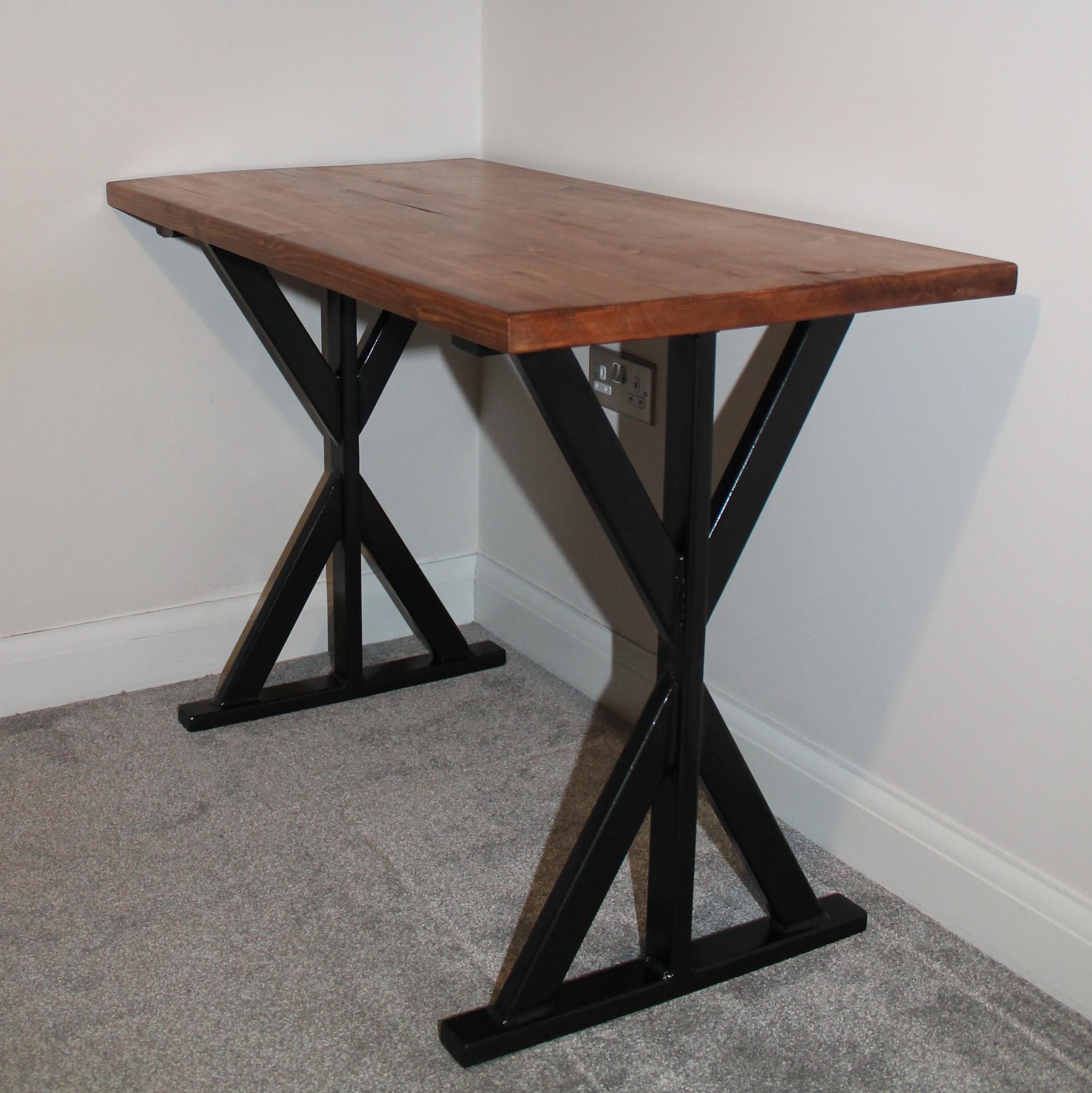 Reclaimed Wood Office Desk With Handmade Metal Legs