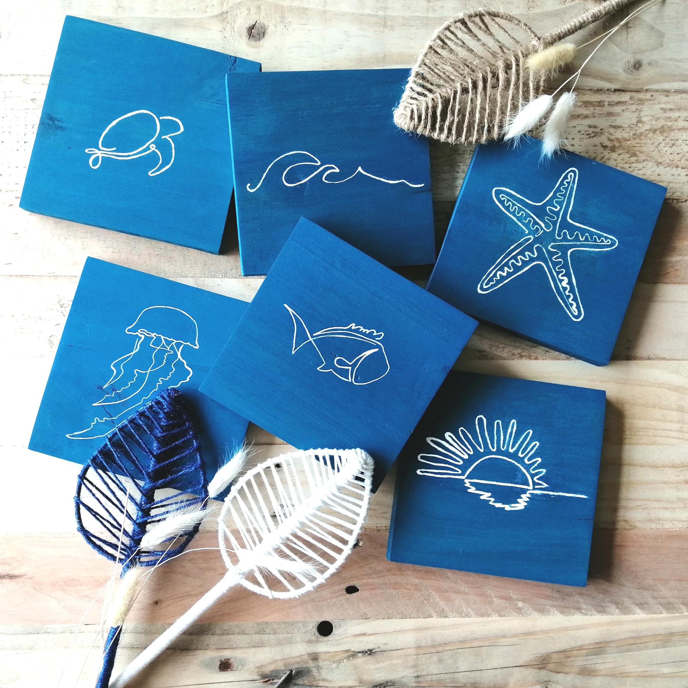Small Coastal Wooden Plaque - One Line Wall Art