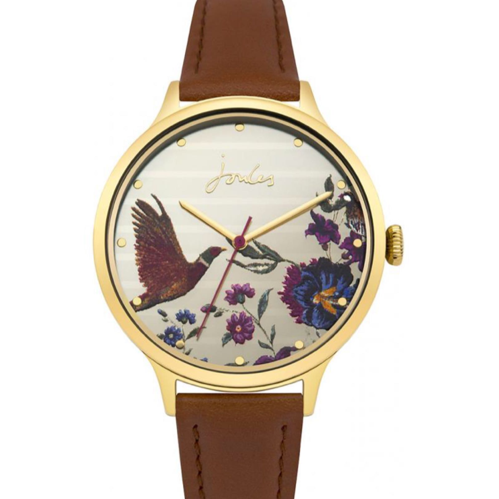 Joules Pippa tan leather strap watch